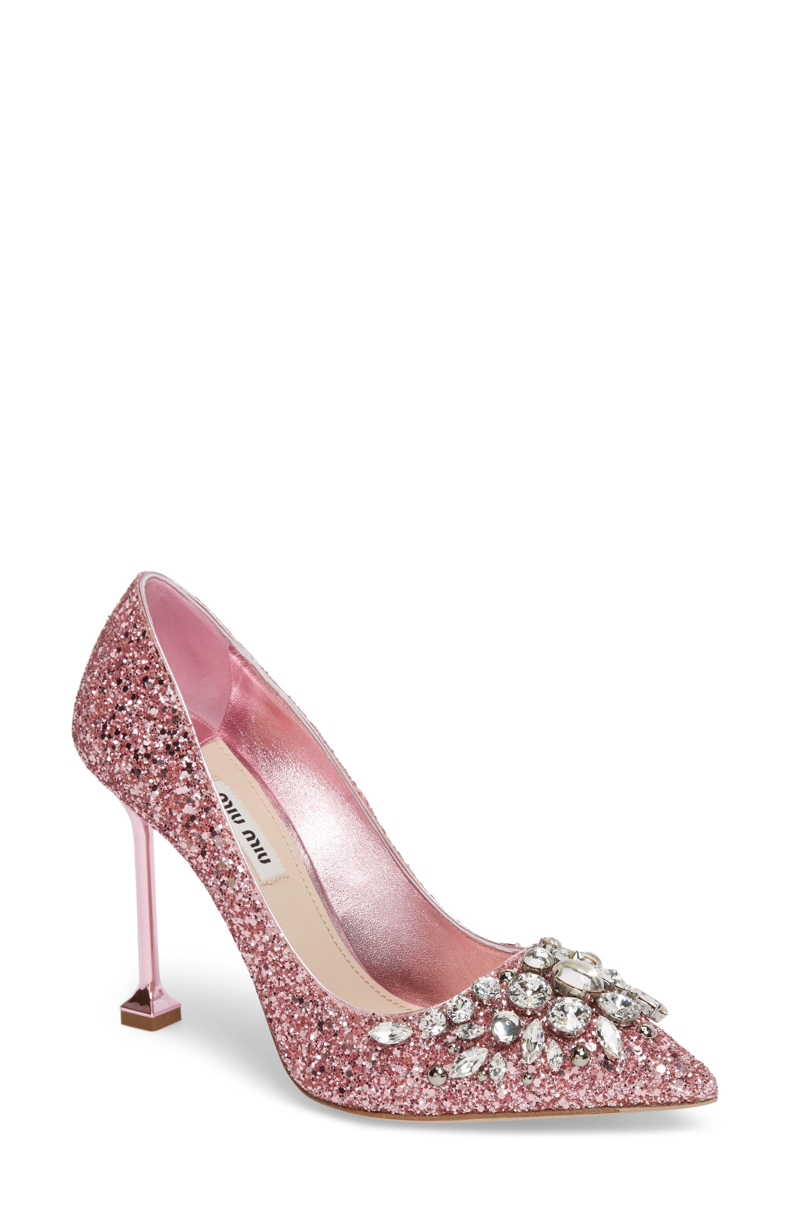 Embellished Glitter Pump,                         Main,                         color, Pink