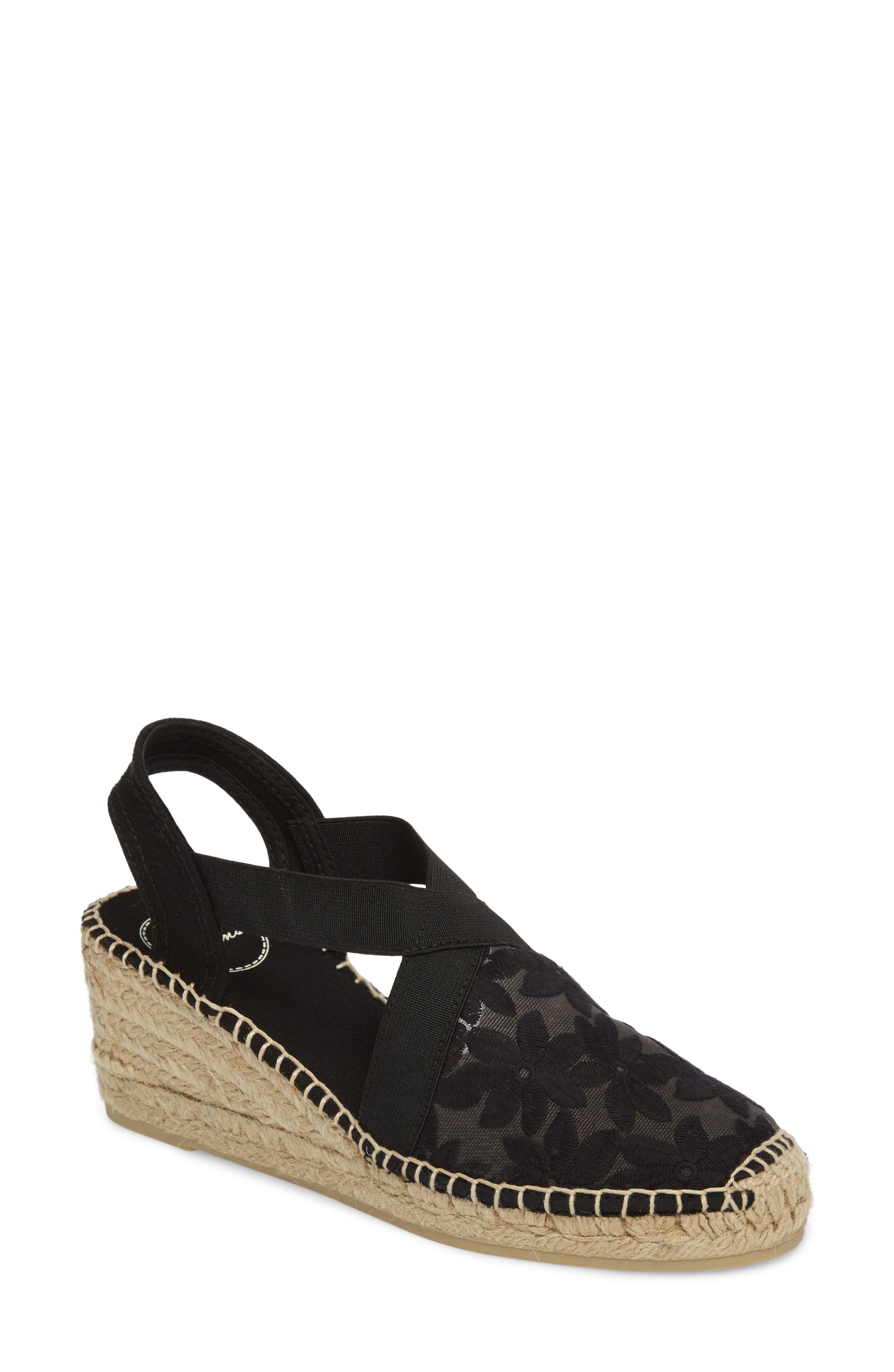 Terra Espadrille Wedge Sandal,                             Main thumbnail 1, color,                             Black Fabric