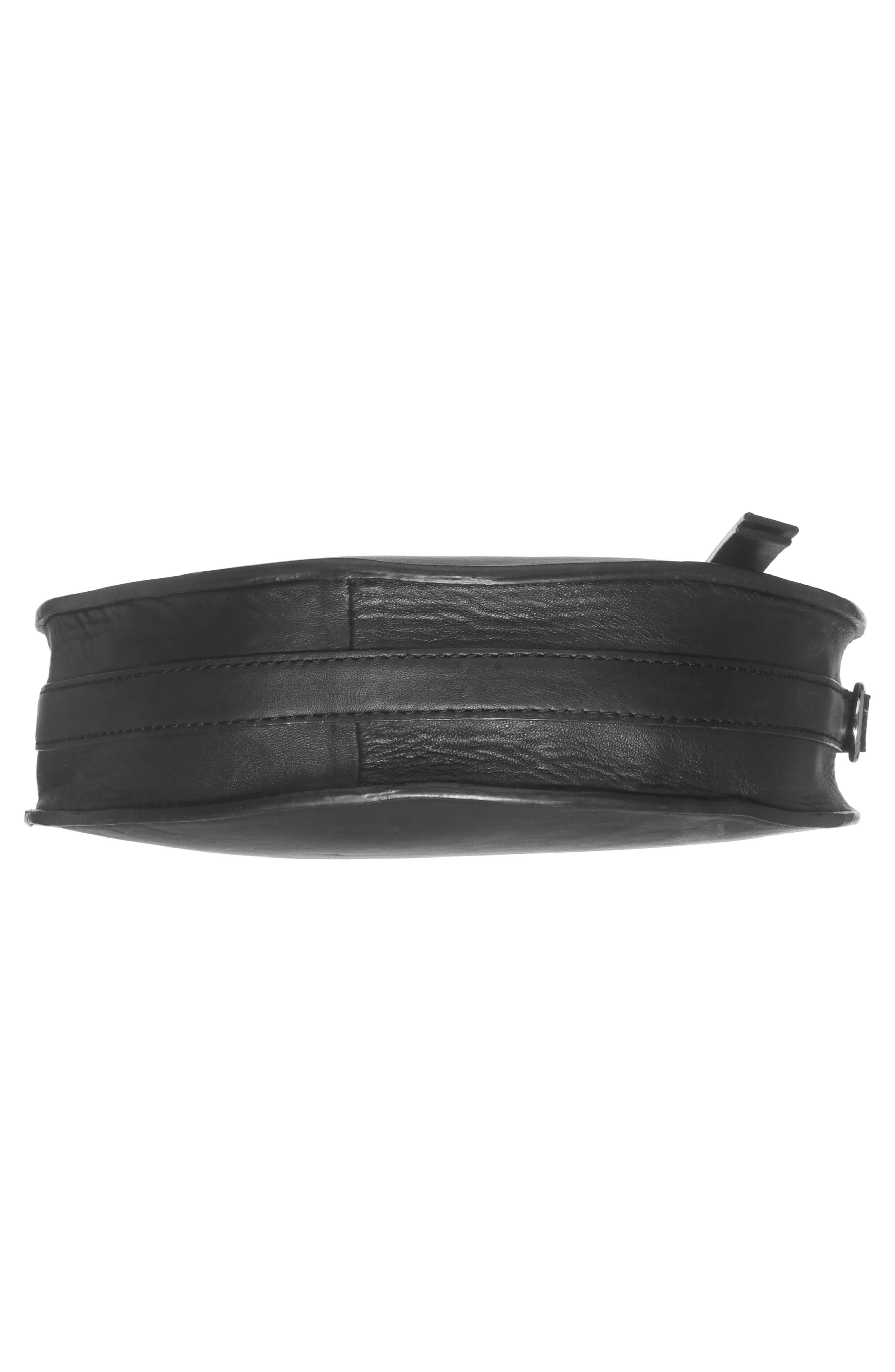 Premium Leather Circle Crossbody Bag,                             Alternate thumbnail 5, color,                             Black