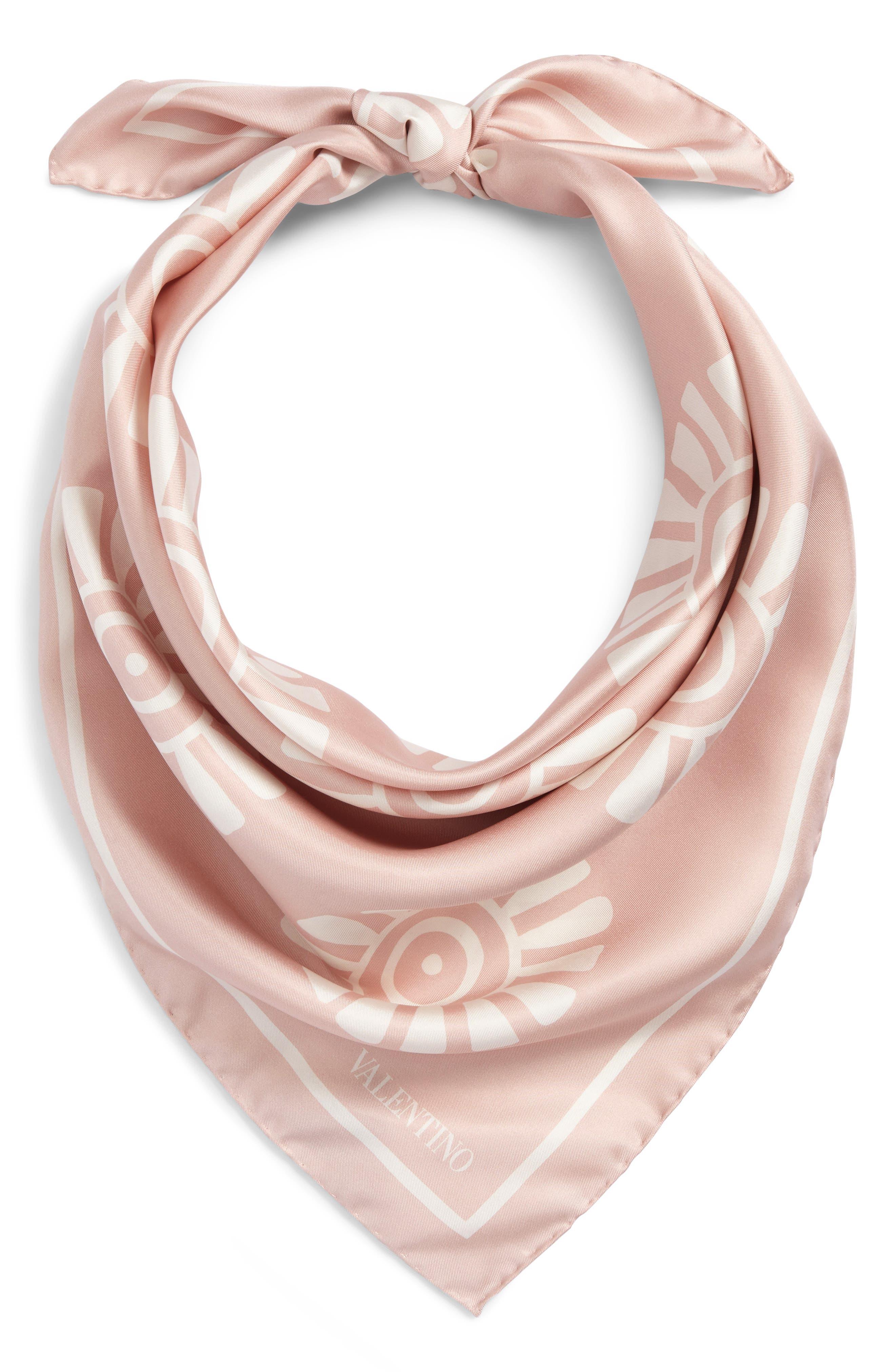 GARAVANI Medallion Print Square Silk Scarf,                             Alternate thumbnail 2, color,                             0Lz Rose Mist