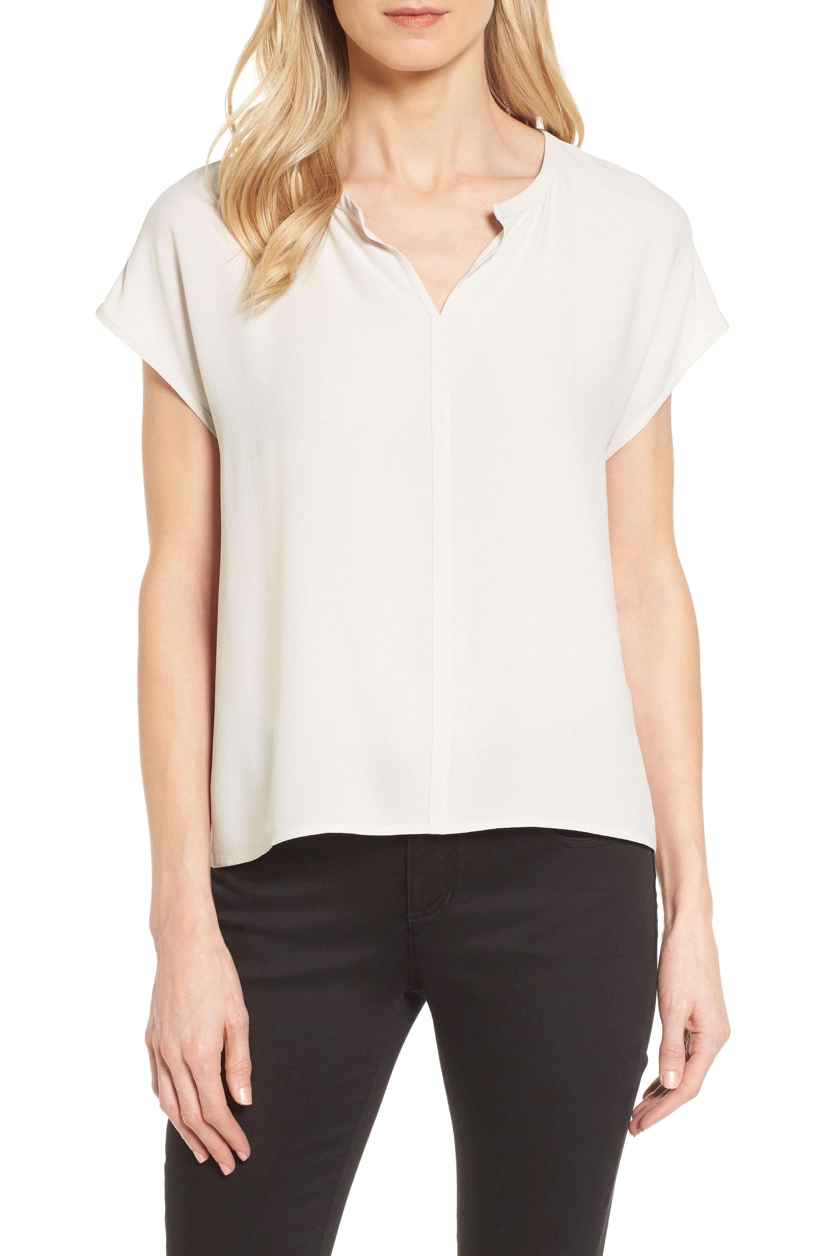 Split Neck Silk Shirt,                         Main,                         color, Bone