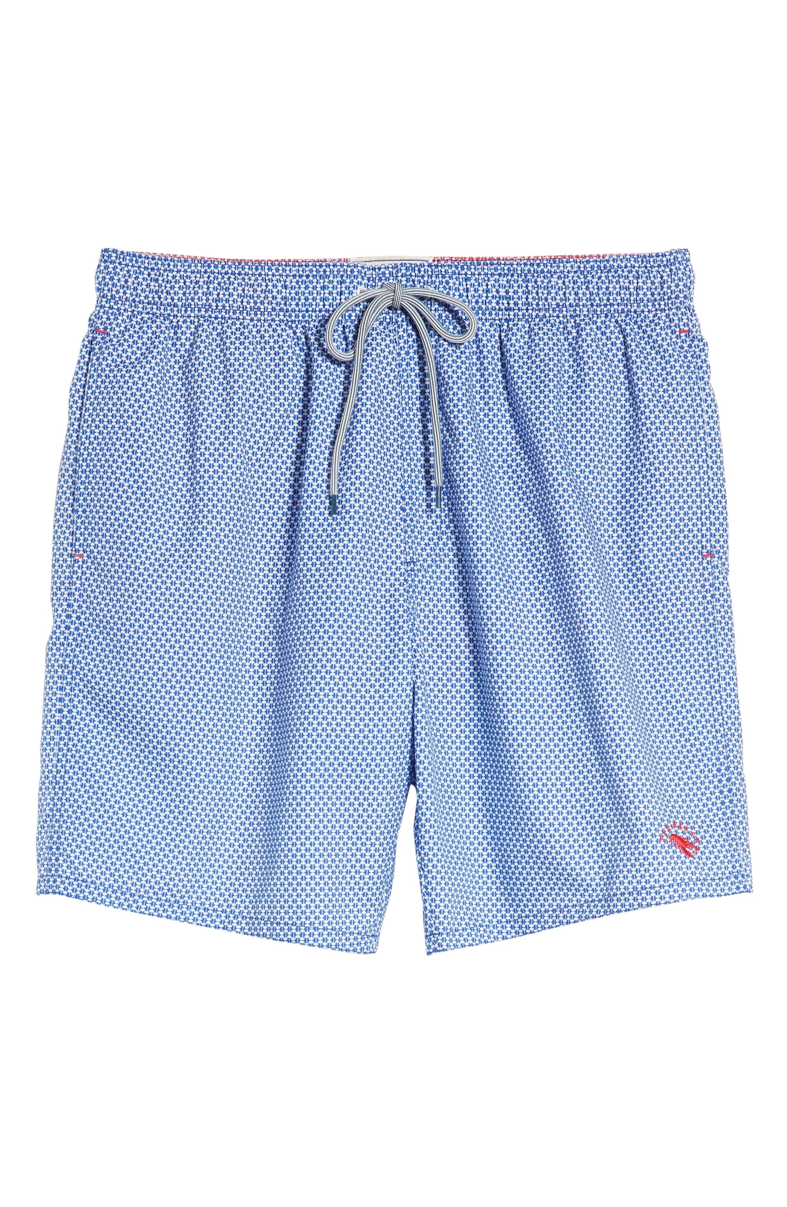 Larkman Geo Print Swim Shorts,                             Alternate thumbnail 6, color,                             Light Blue