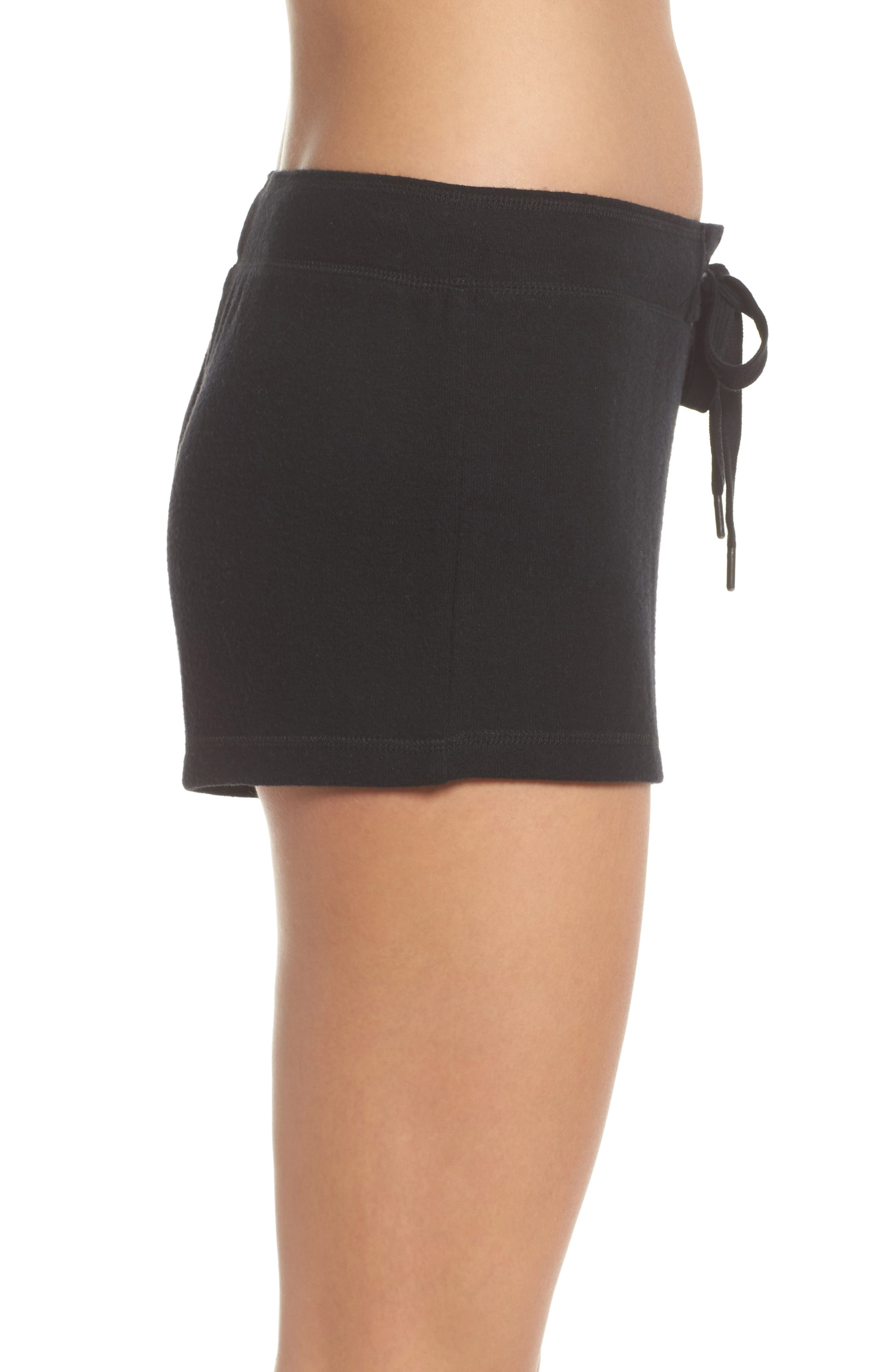 Embroidered Lounge Shorts,                             Alternate thumbnail 3, color,                             Black