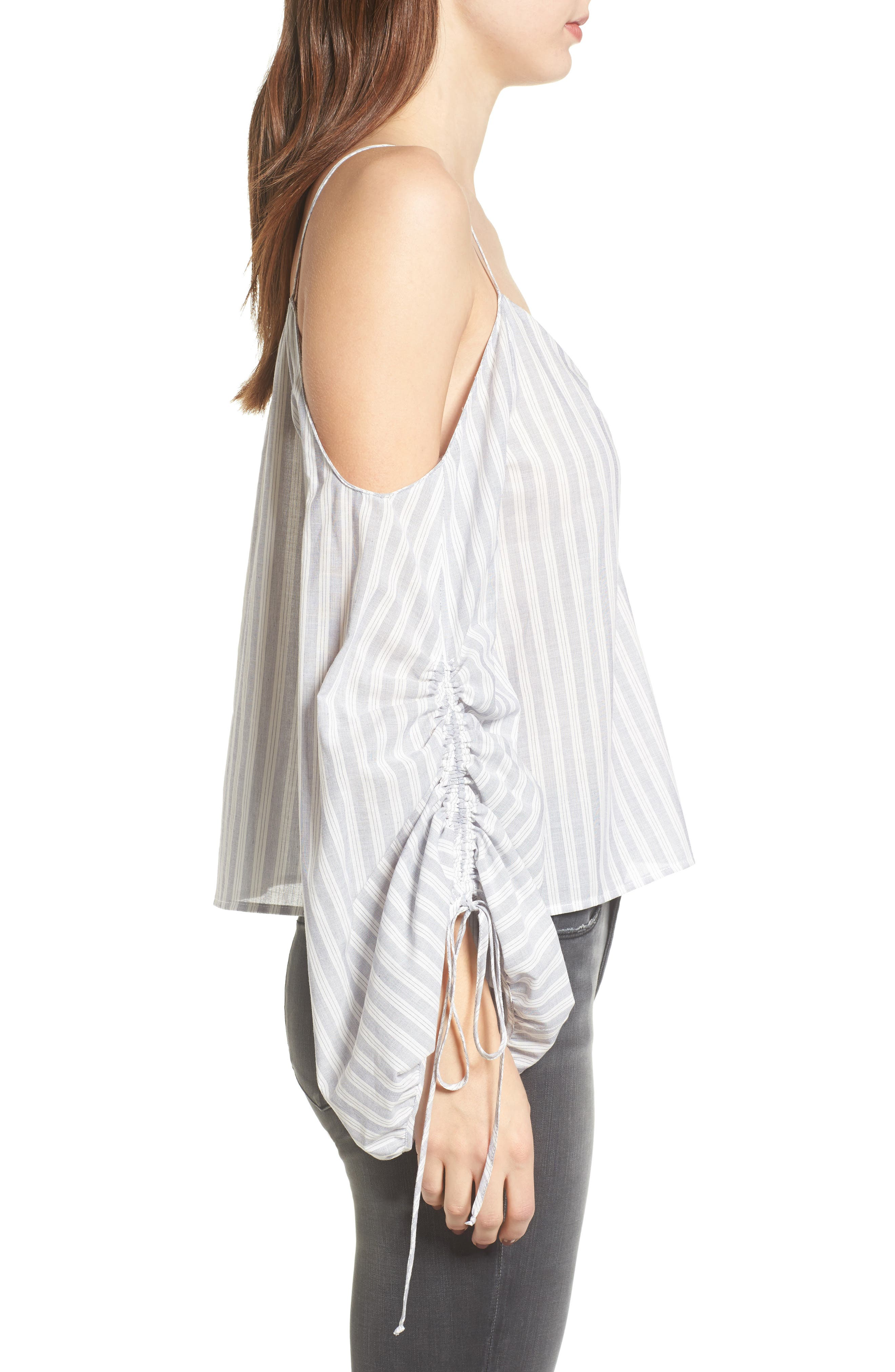 Cinched Balloon Sleeve Top,                             Alternate thumbnail 3, color,                             Grey/ White Stripe