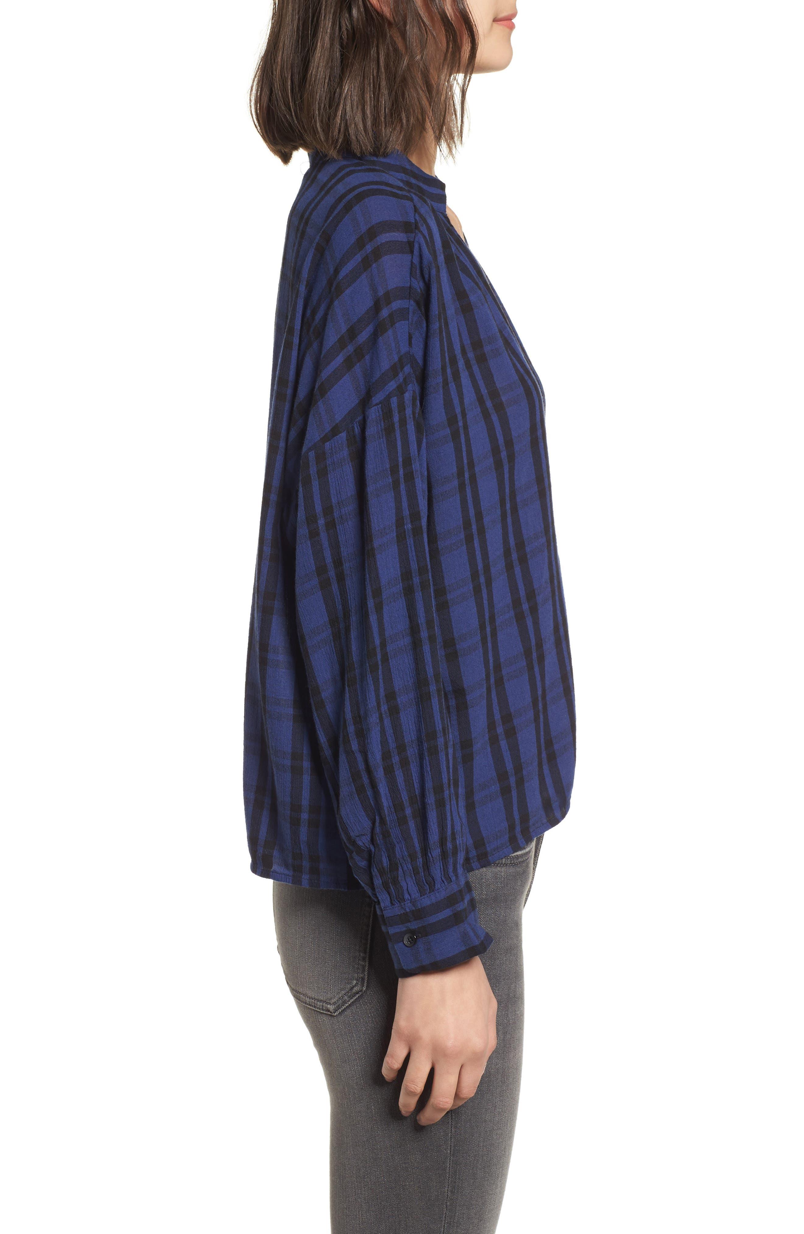 Plaid Shirred Neck Shirt,                             Alternate thumbnail 3, color,                             Dark River