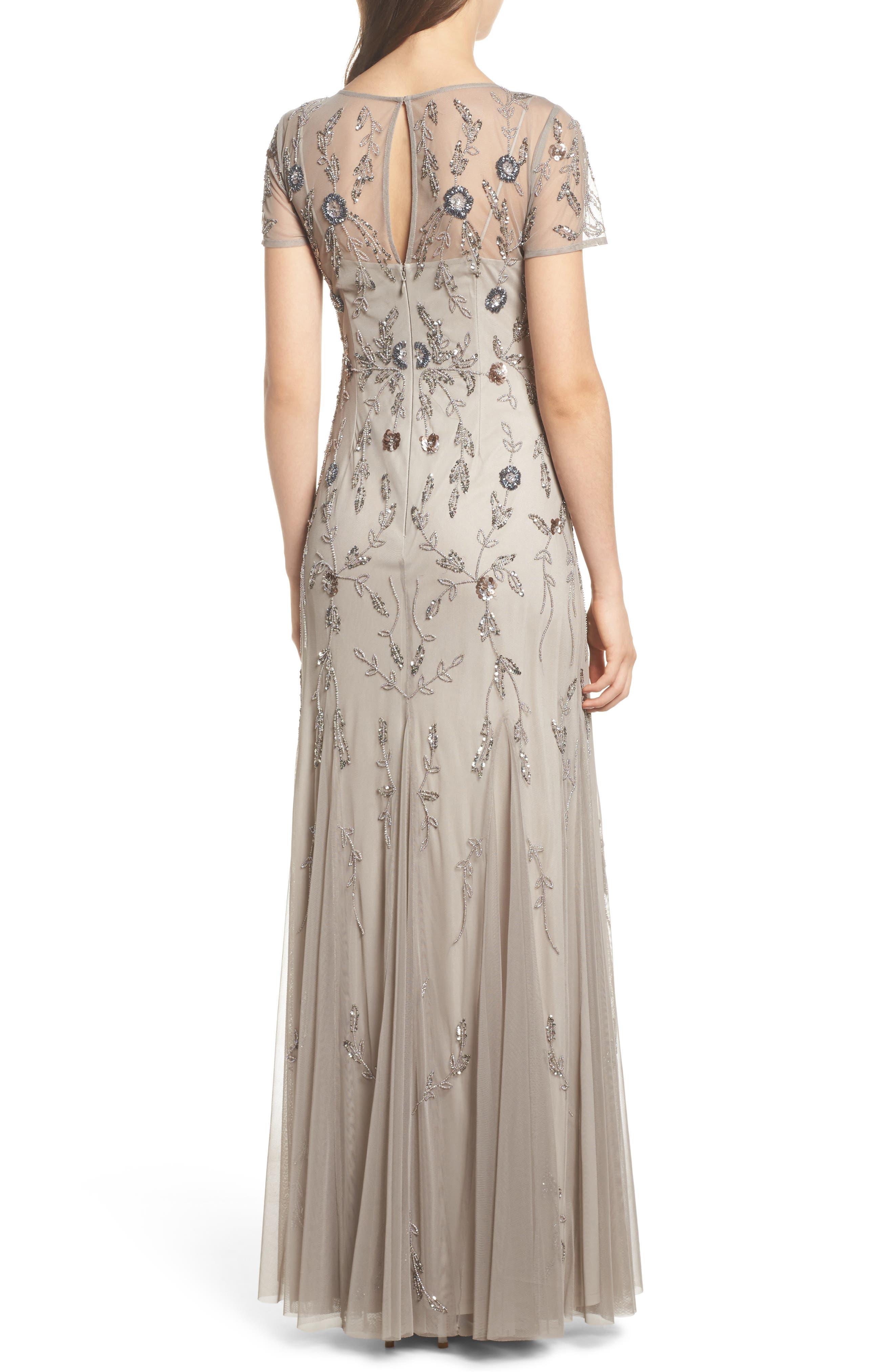 Floral Beaded Gown,                             Alternate thumbnail 2, color,                             Platinum