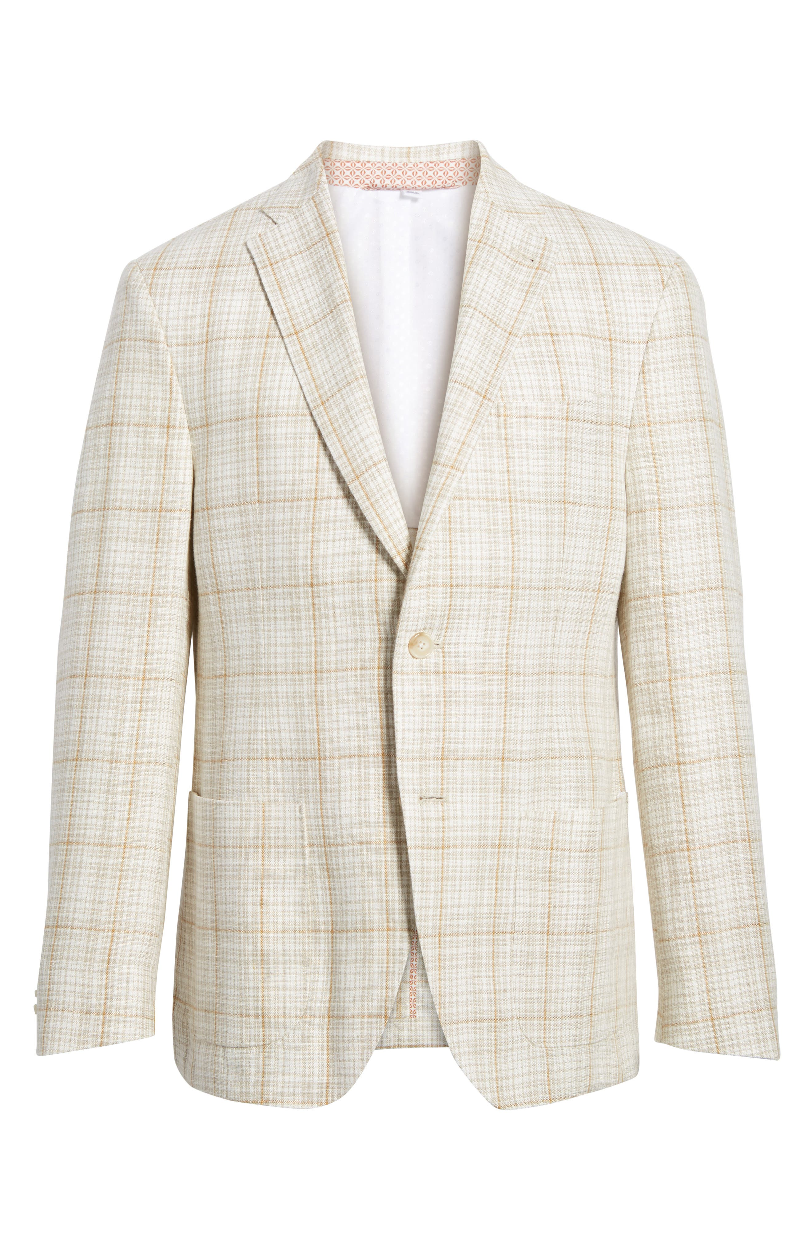 Trent Trim Fit Plaid Linen Sport Coat,                             Alternate thumbnail 6, color,                             Light Cream