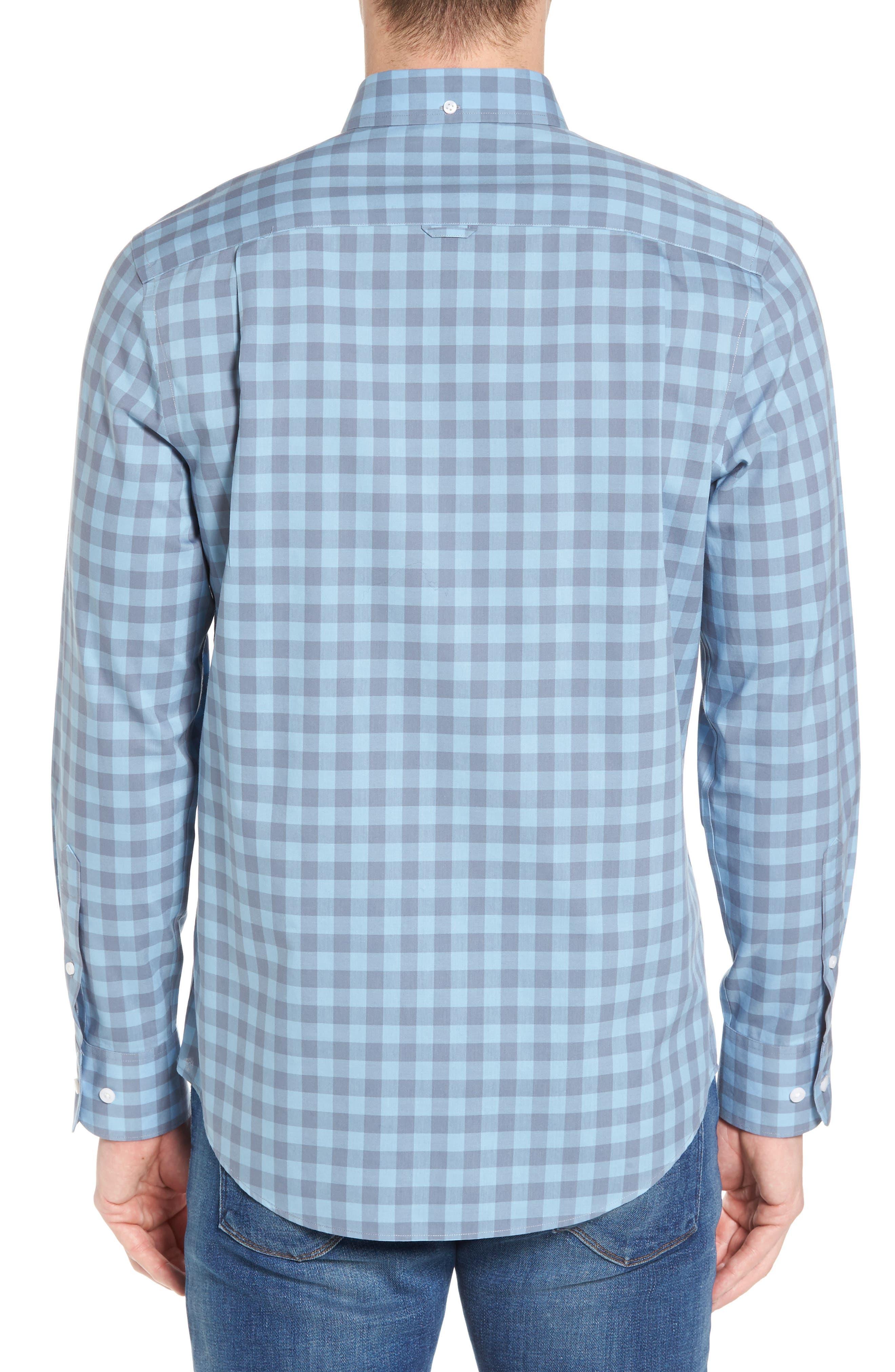 Regular Fit Gingham Sport Shirt,                             Alternate thumbnail 3, color,                             Blue Dusk Grey Gingham