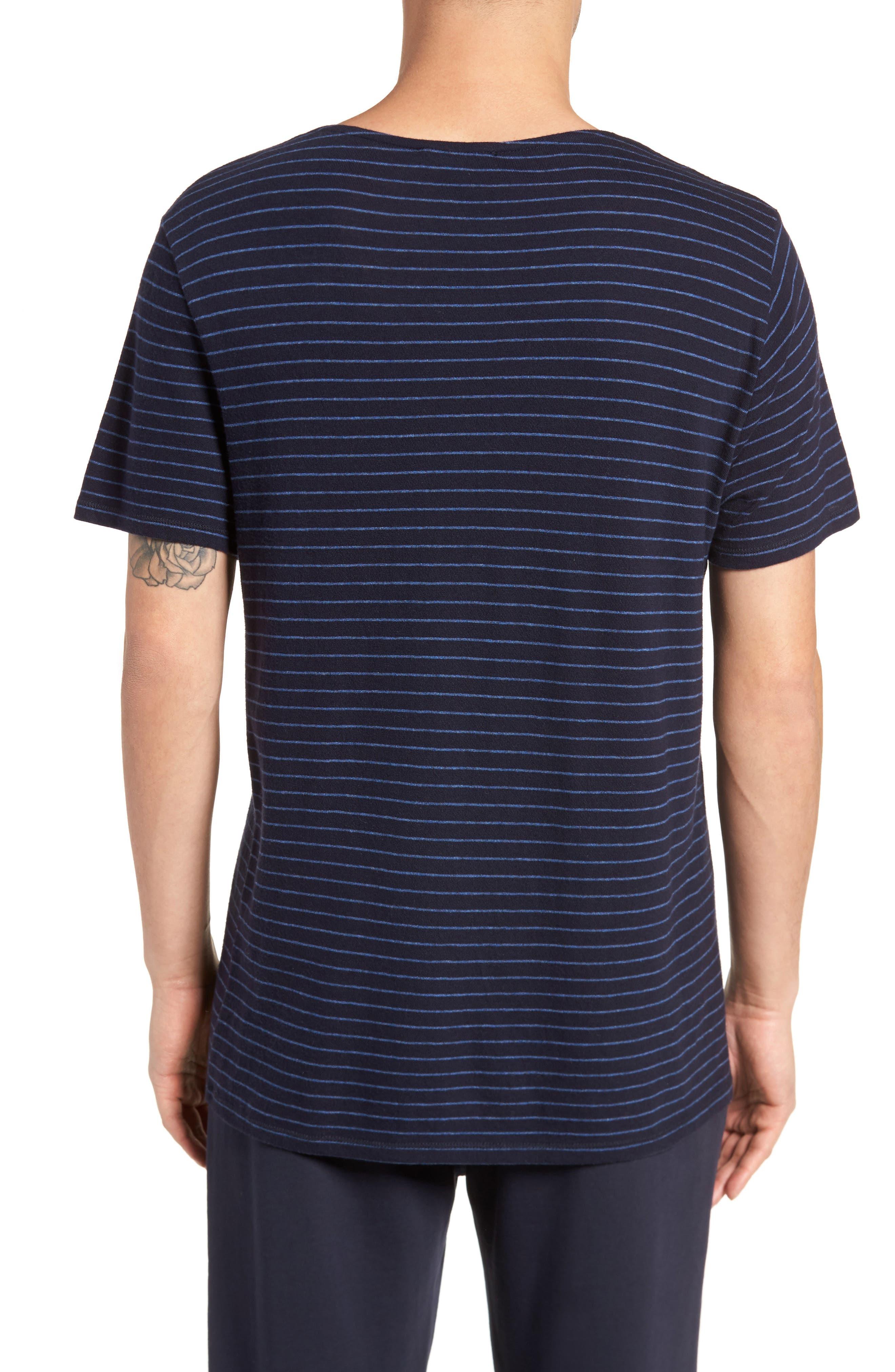 Raw Edge Stripe T-Shirt,                             Alternate thumbnail 2, color,                             New Coastal/ H Lake