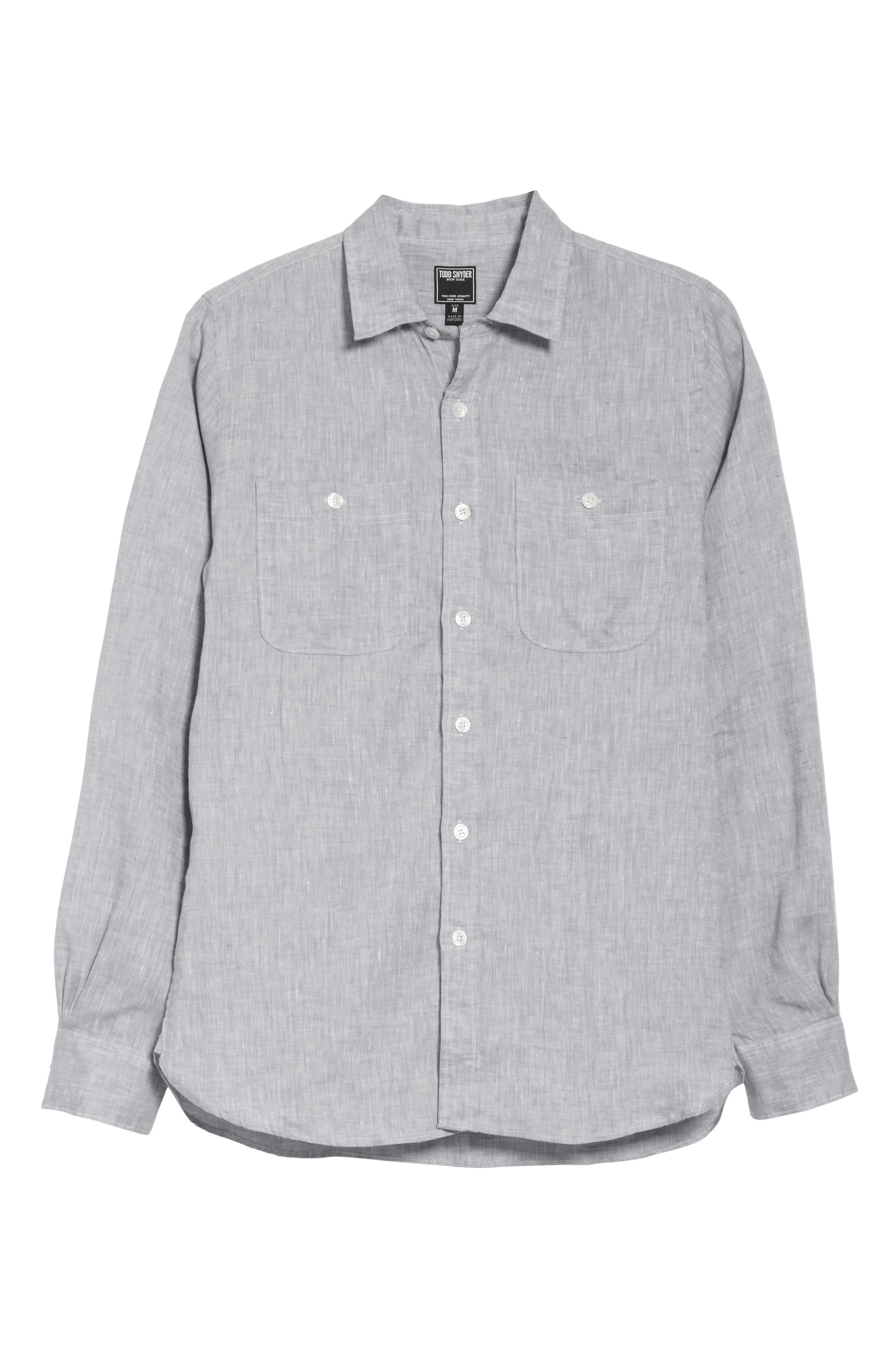 Linen Shirt,                             Alternate thumbnail 6, color,                             Light Grey