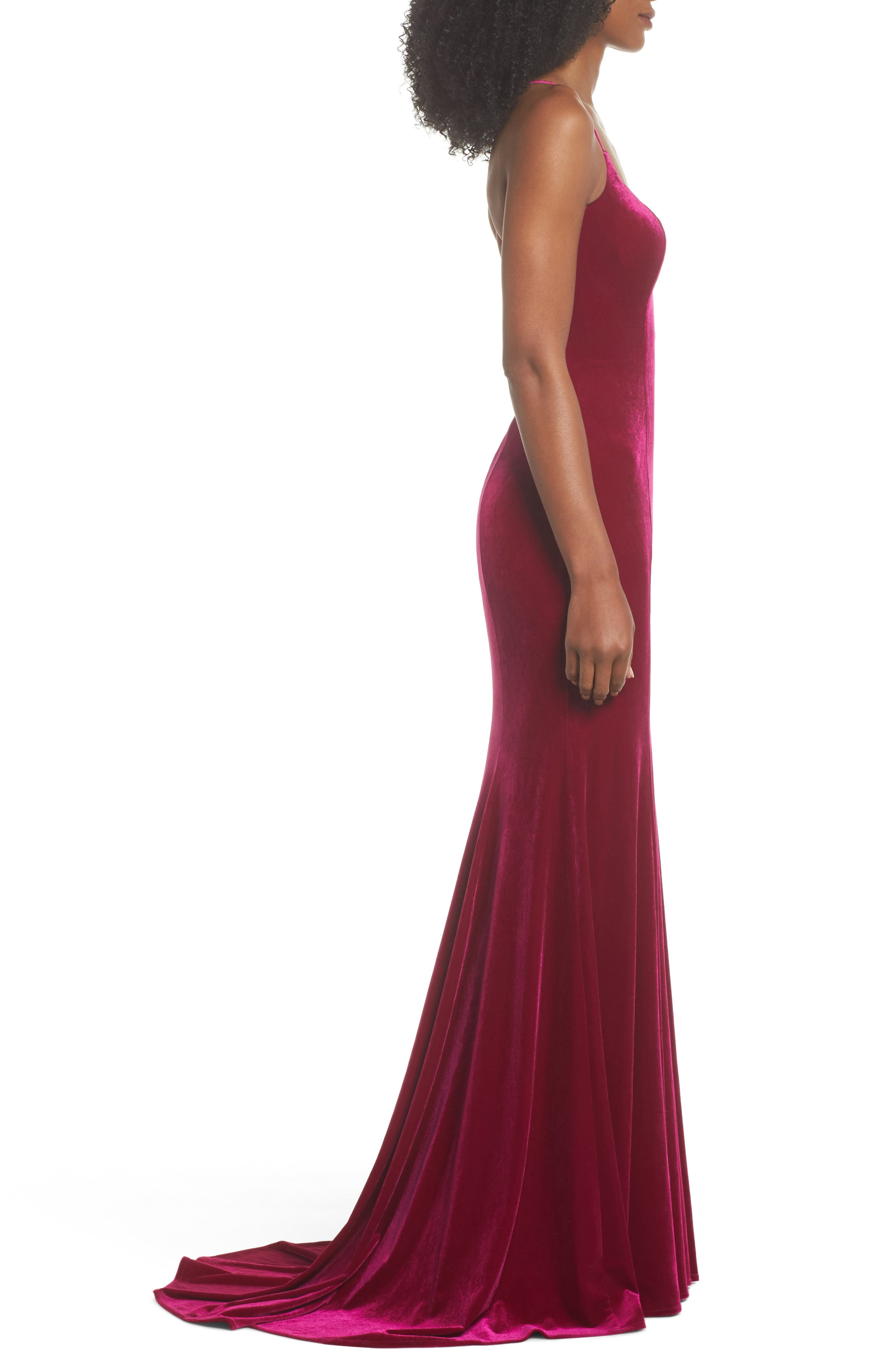 Alternate Image 3  - La Femme Crisscross Back Velvet Gown