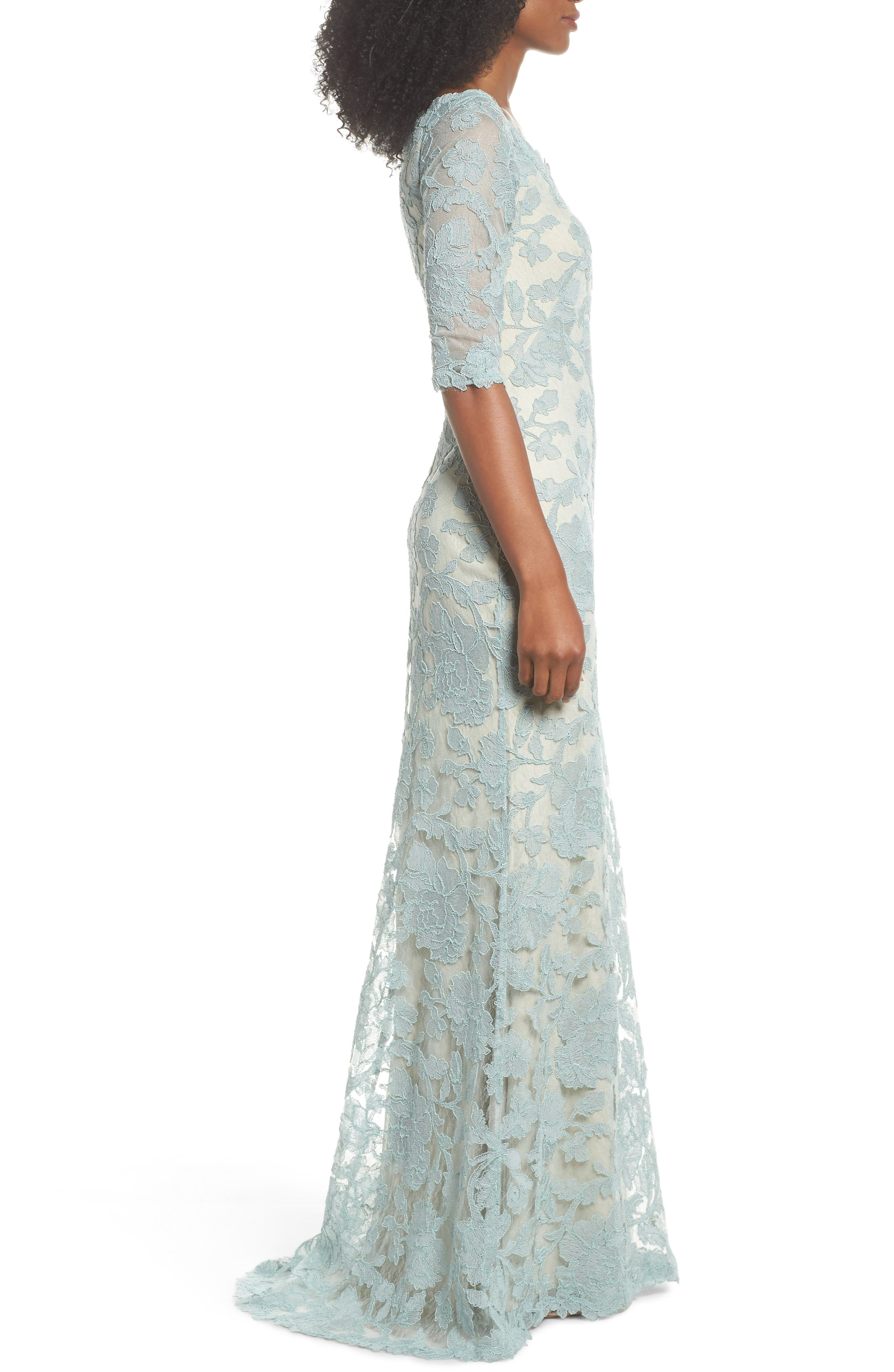 Embroidered Boat Neck Mermaid Gown,                             Alternate thumbnail 3, color,                             Mint/ Natural