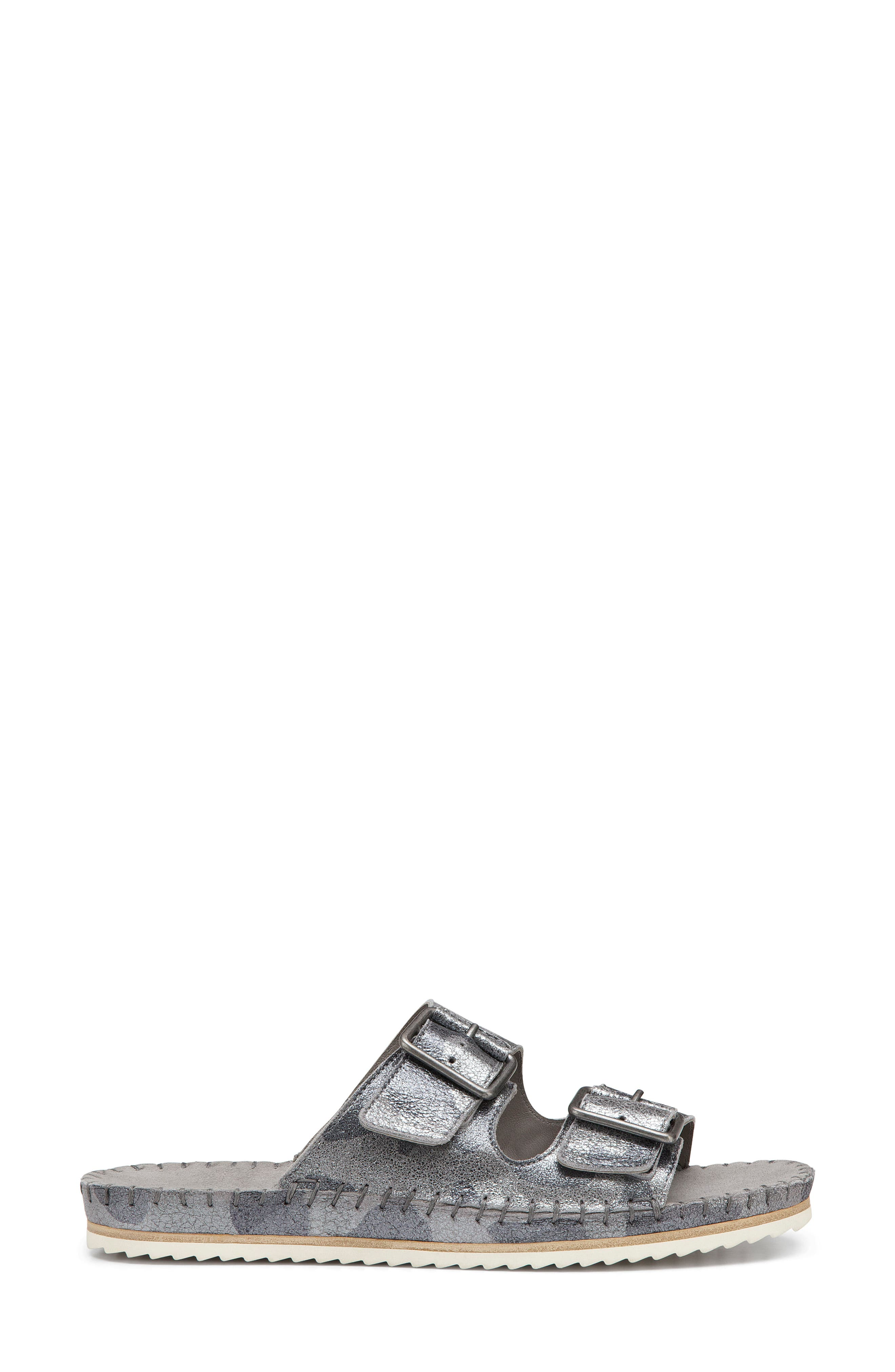 Carli Slide Sandal,                             Alternate thumbnail 4, color,                             Pewter Camo Metallic Suede