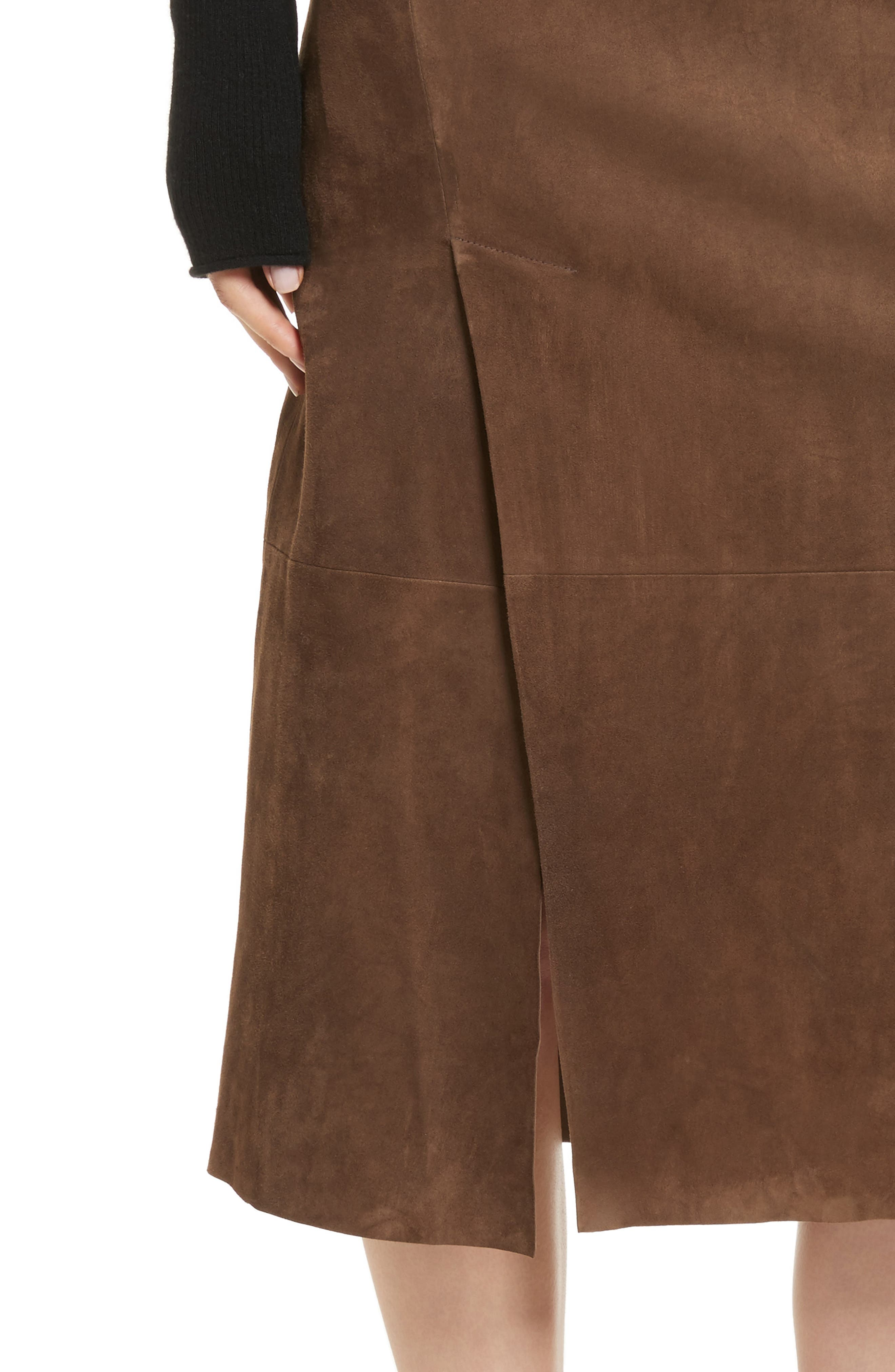 Suede Slit Skirt,                             Alternate thumbnail 4, color,                             Dark Taupe