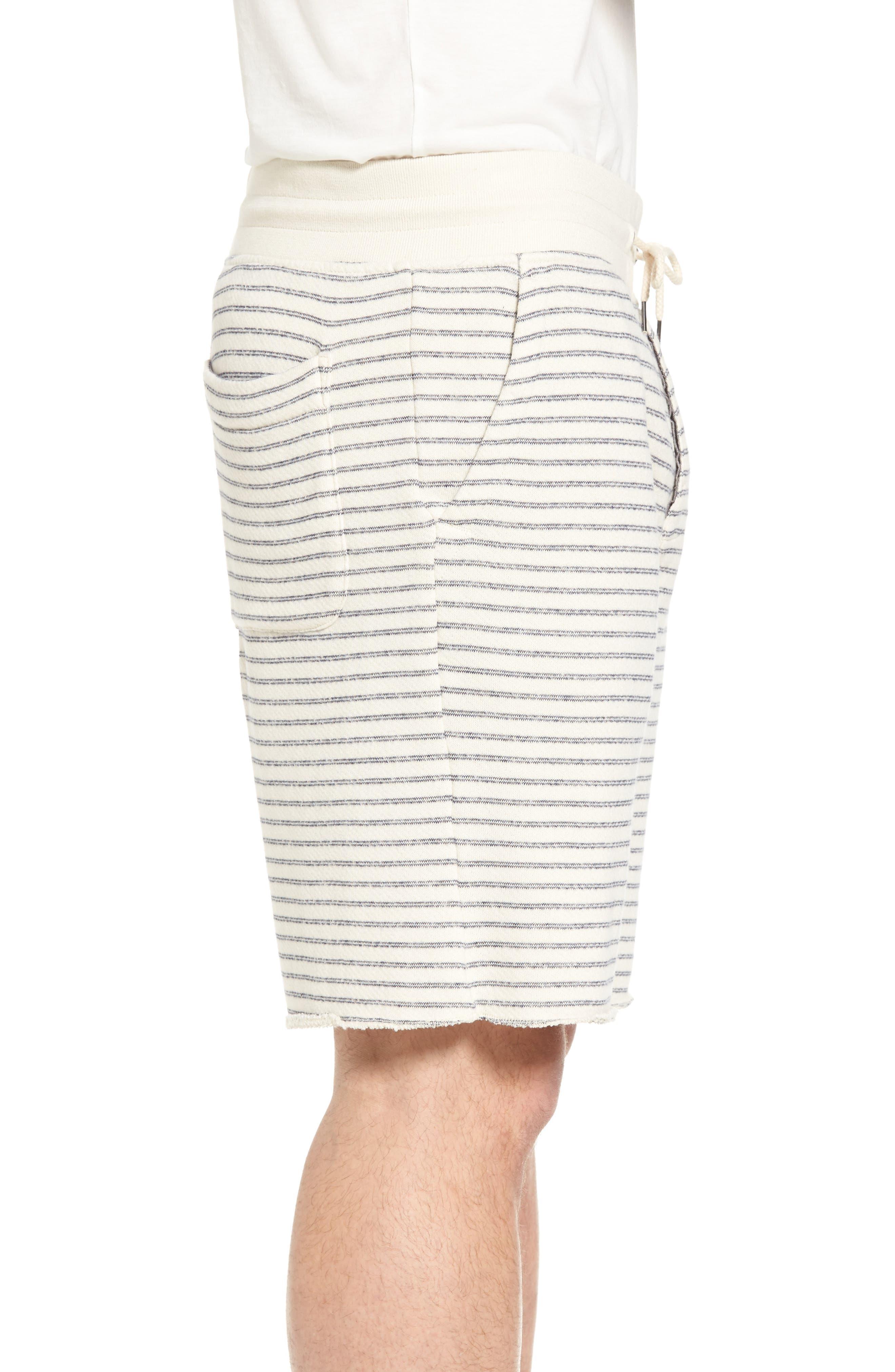 Dalton Stripe Drawcord Terry Shorts,                             Alternate thumbnail 3, color,                             White/ Navy Stripe