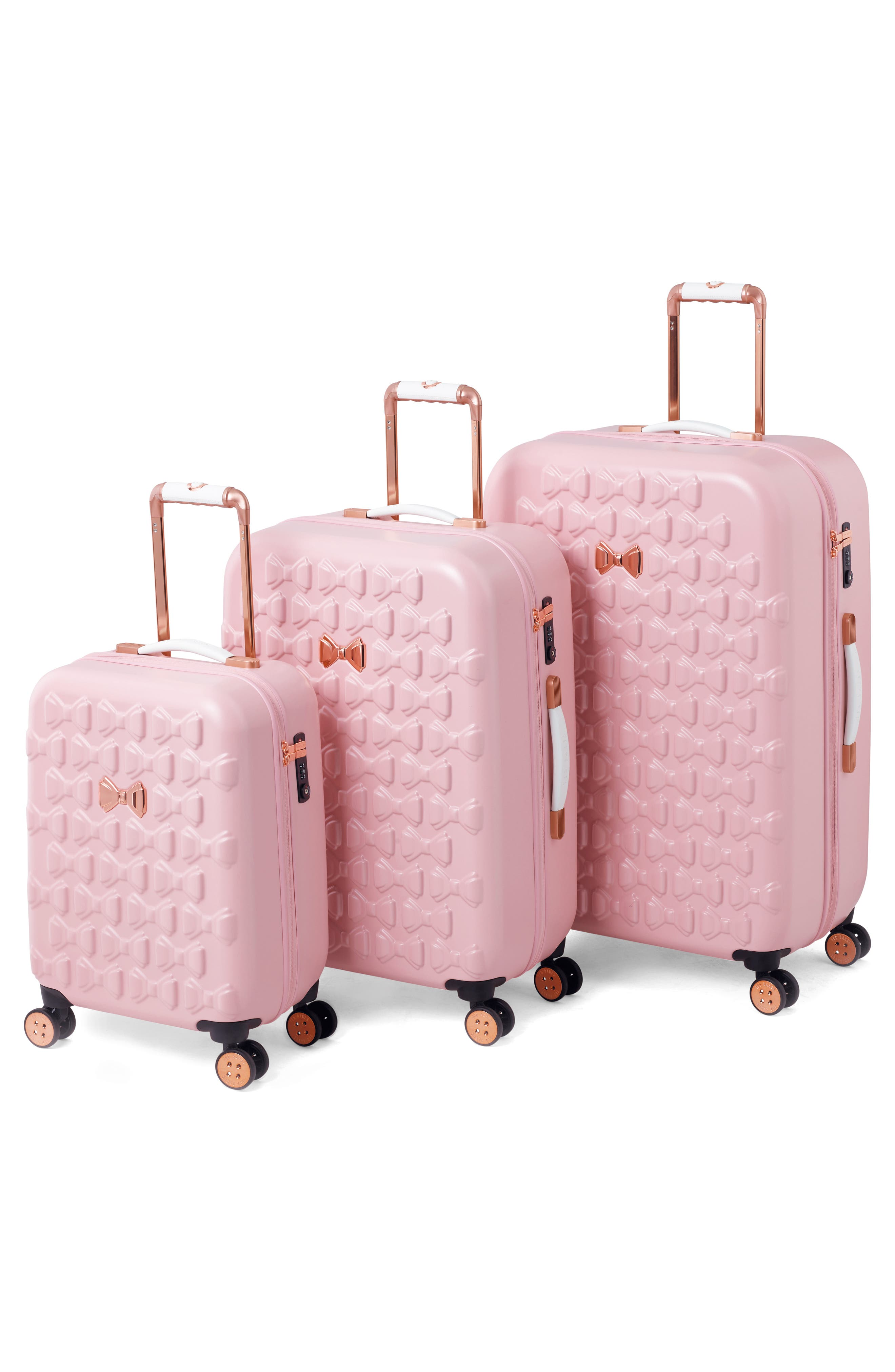 Medium Beau Bow Embossed Four-Wheel 27-Inch Trolley Suitcase,                             Alternate thumbnail 9, color,                             Pink