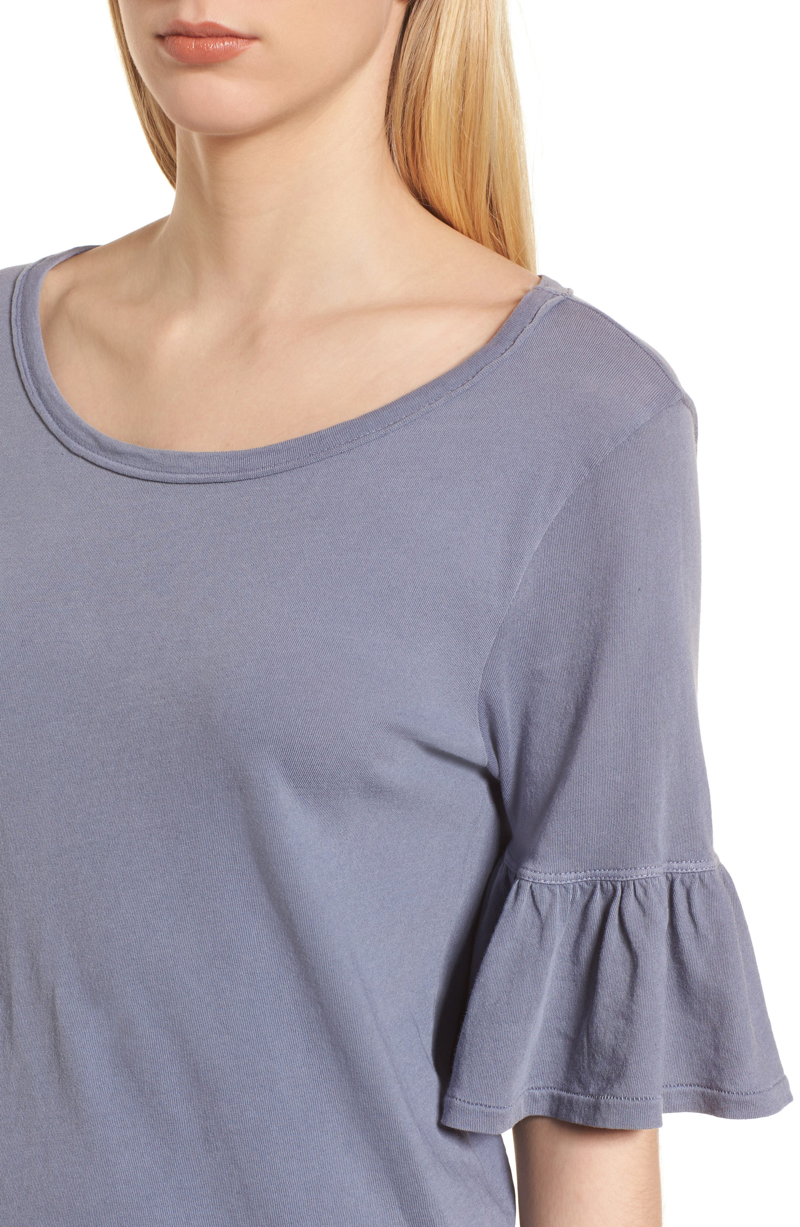 Ruffle Sleeve Knit Top,                             Alternate thumbnail 4, color,                             Shadow Purple
