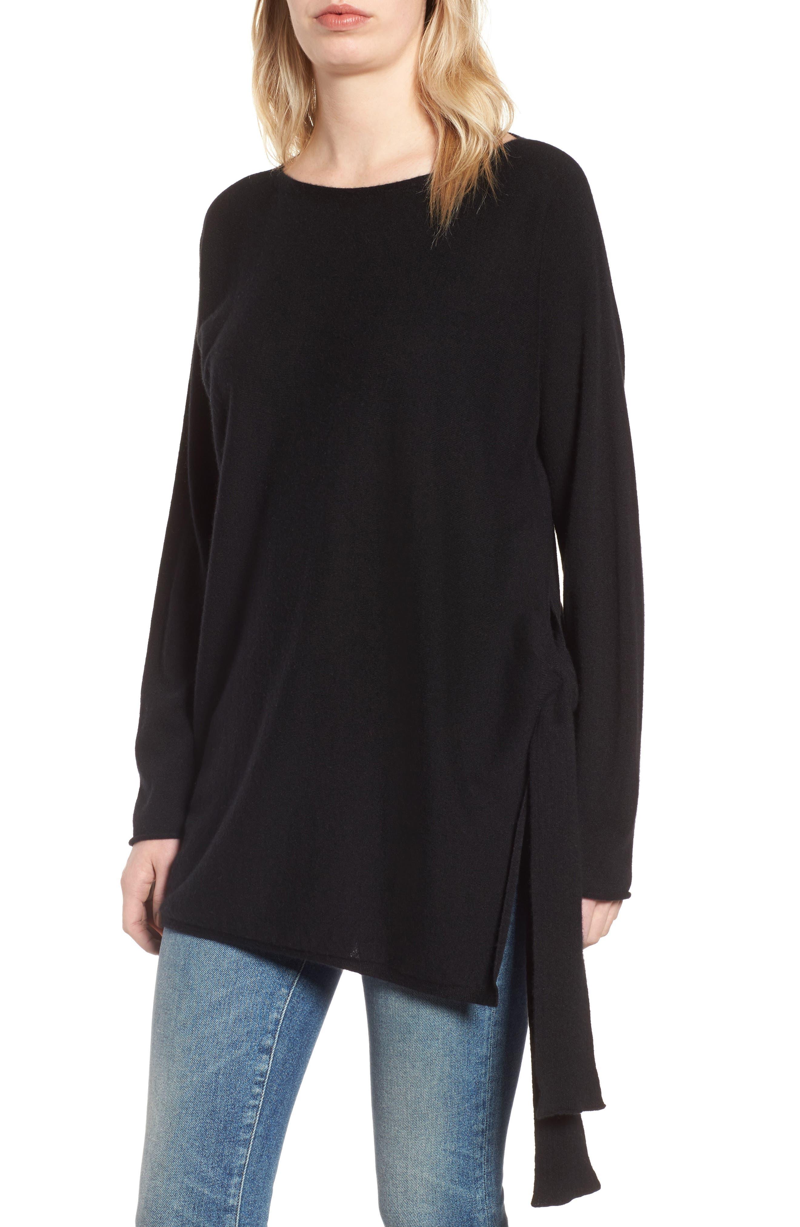 Cashmere Tunic Sweater,                             Main thumbnail 1, color,                             Black