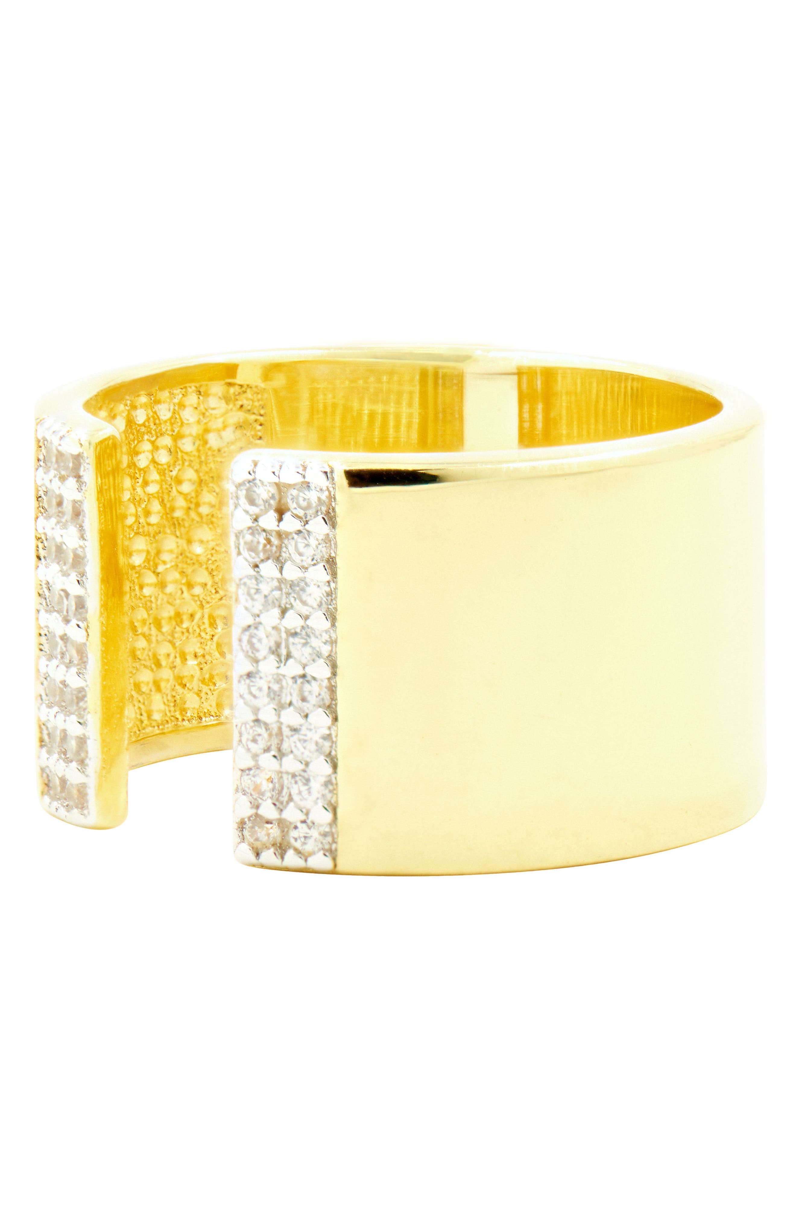 Radiance Cubic Zirconia Ring,                             Alternate thumbnail 3, color,                             Silver/ Gold