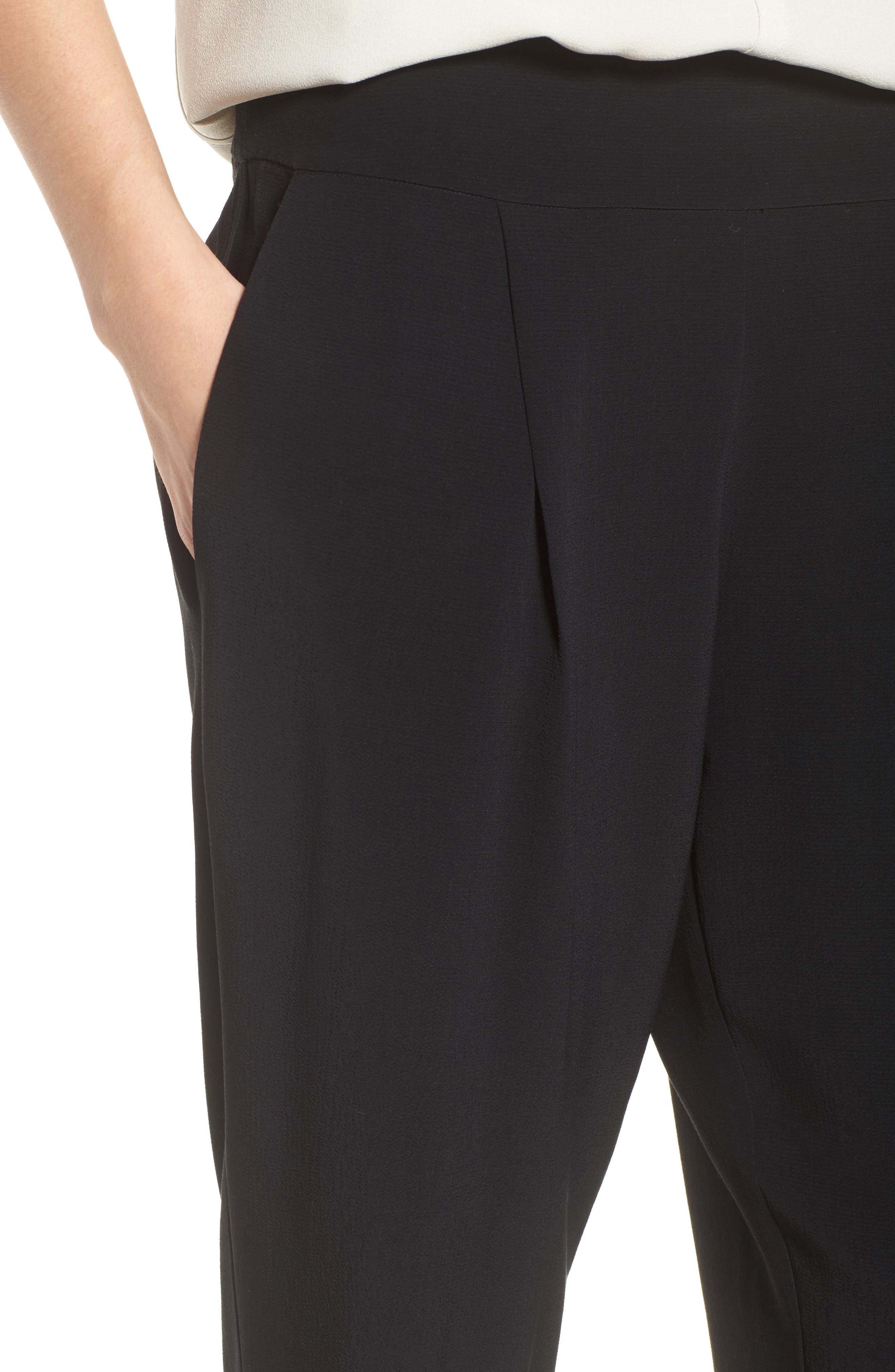 Slouchy Tencel<sup>®</sup> Lyocell Blend Crop Pants,                             Alternate thumbnail 4, color,                             Black