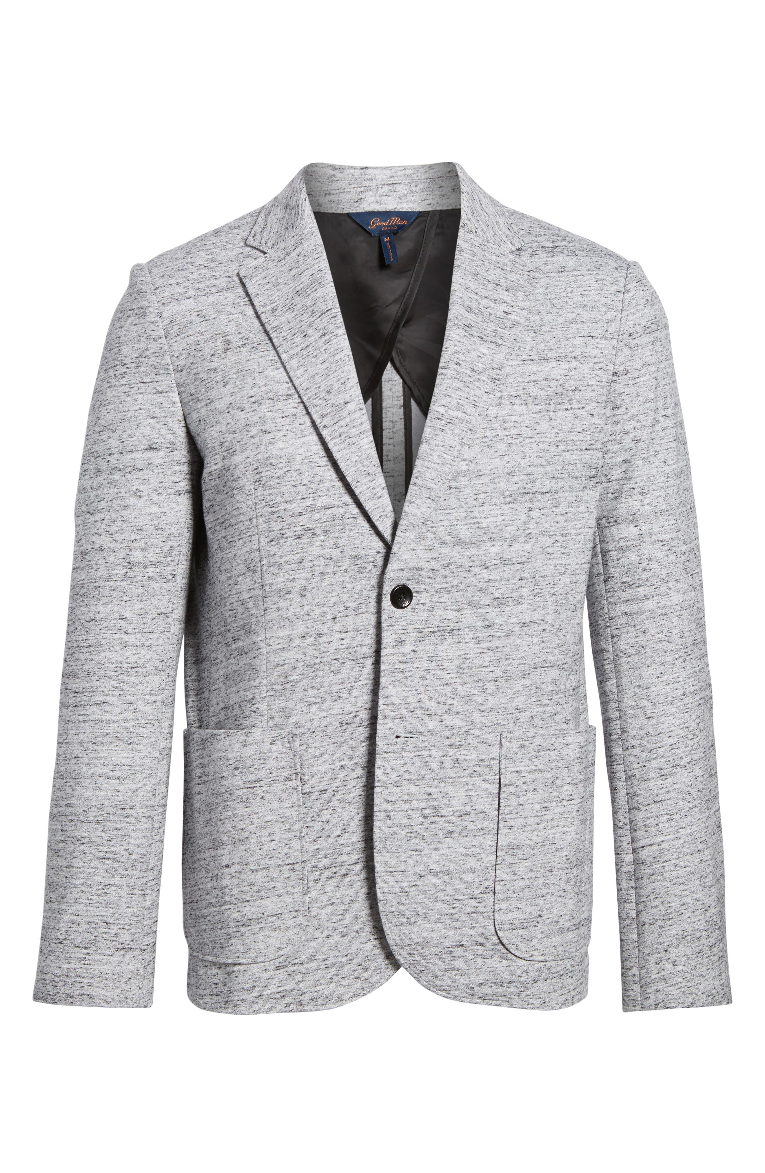 Soft Cotton Unconstructed Blazer,                             Alternate thumbnail 6, color,                             Grey Heather / White