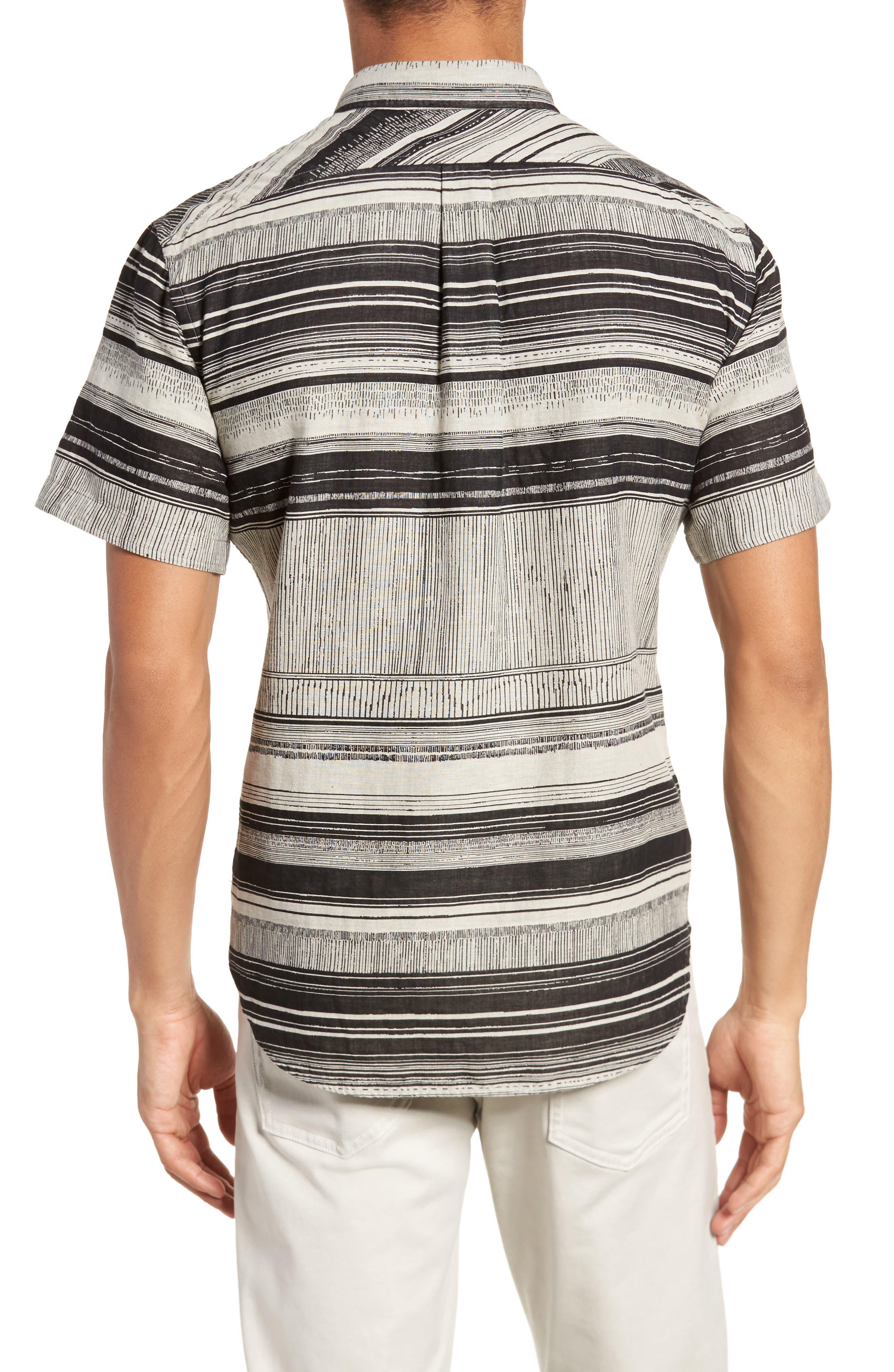 Murphy Stripe Short Sleeve Sport Shirt,                             Alternate thumbnail 4, color,                             Black/ White