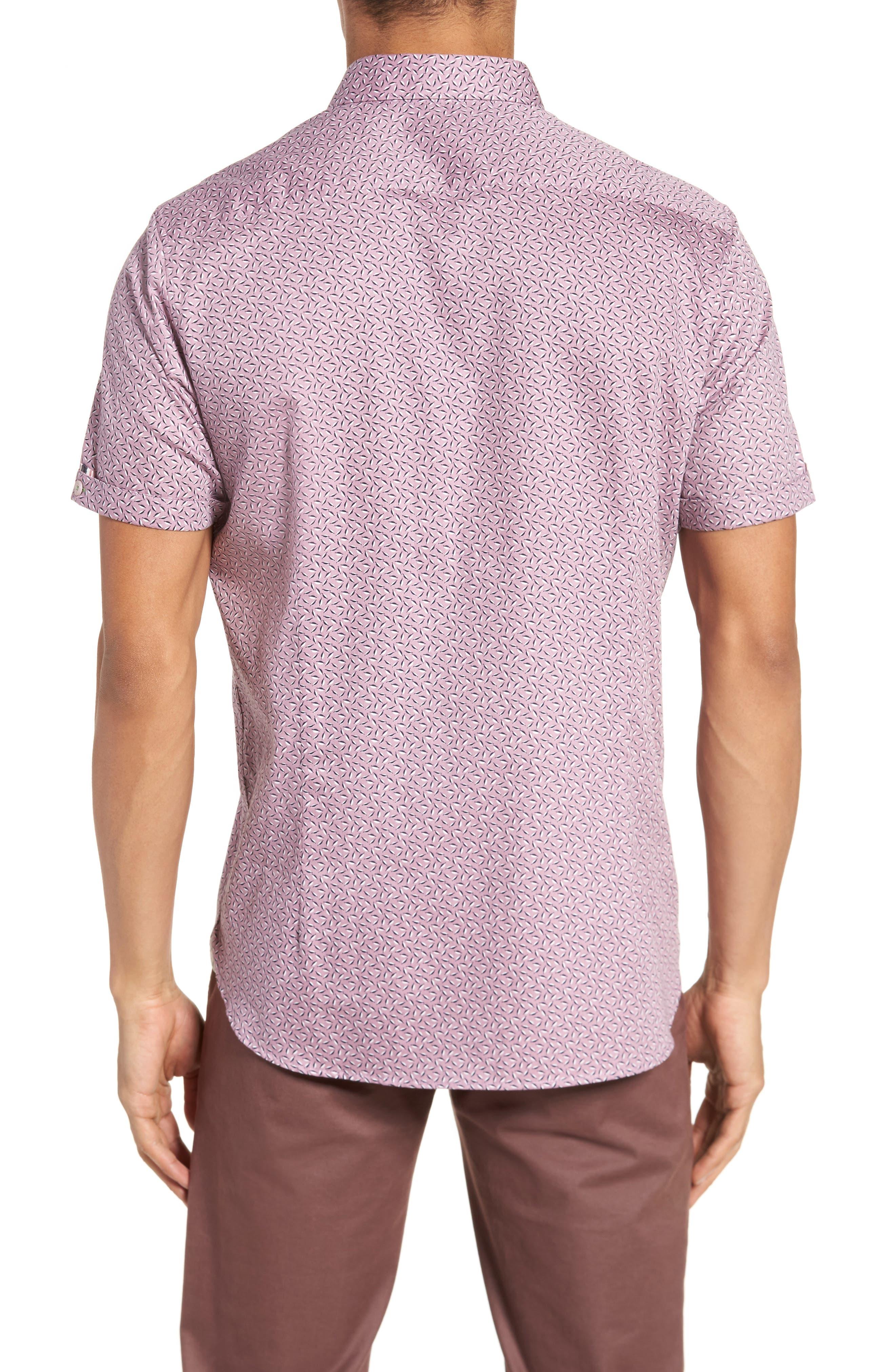 Narnar Trim Fit Geo Print Camp Shirt,                             Alternate thumbnail 3, color,                             Light Pink