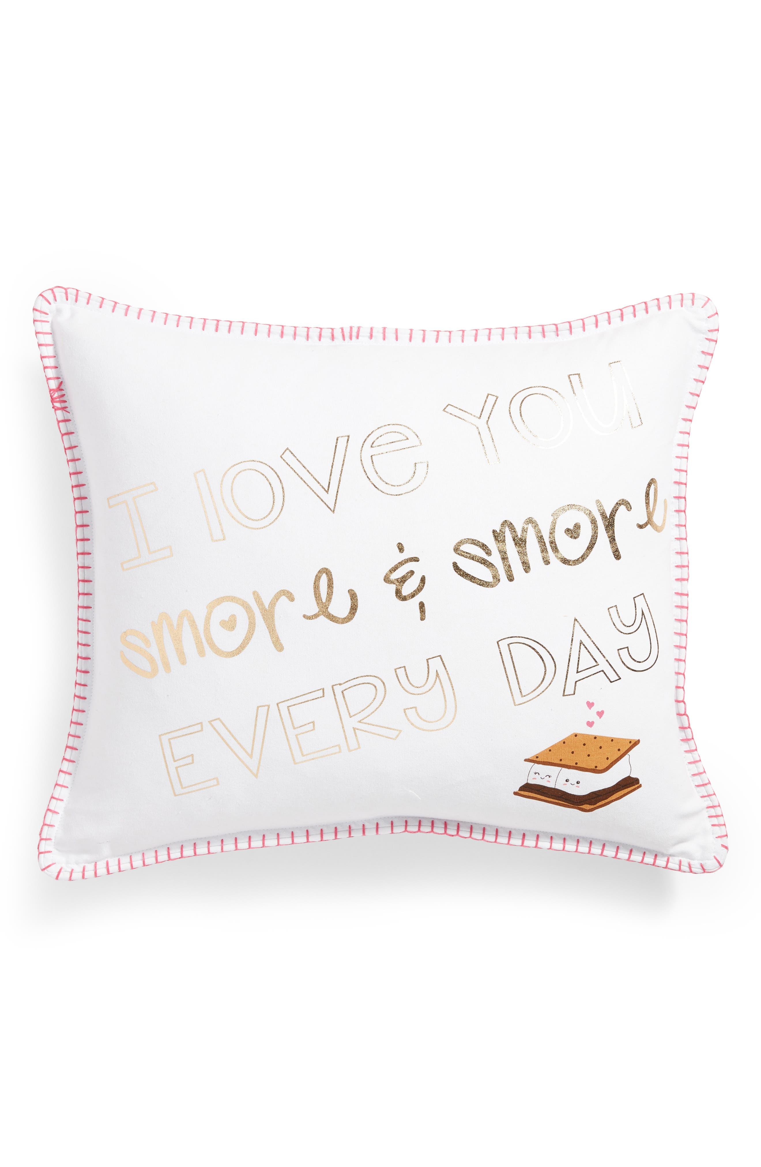 Smore & Smore Accent Pillow,                         Main,                         color, White