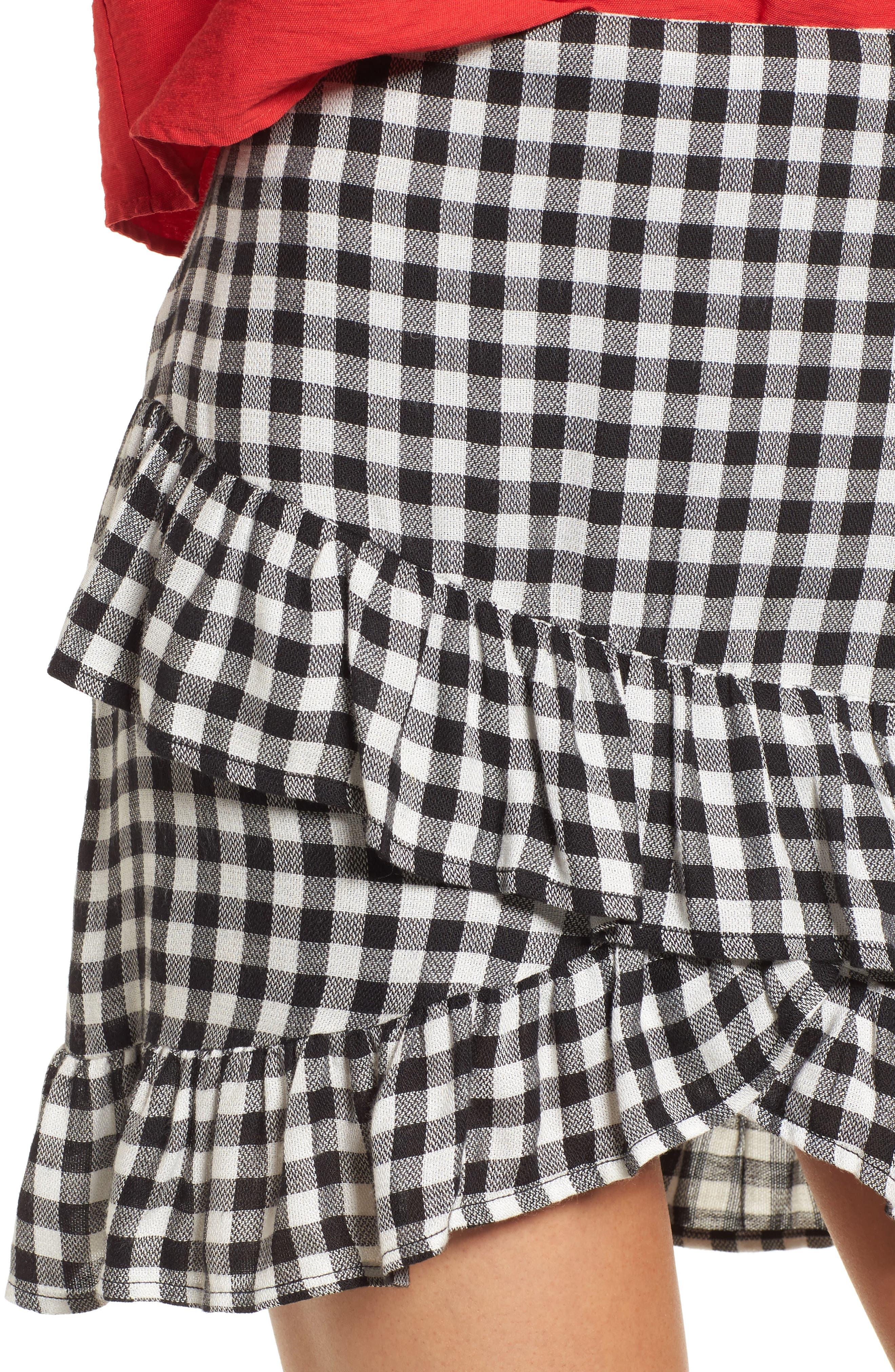 Day Trip Gingham Ruffle Skirt,                             Alternate thumbnail 5, color,                             Black