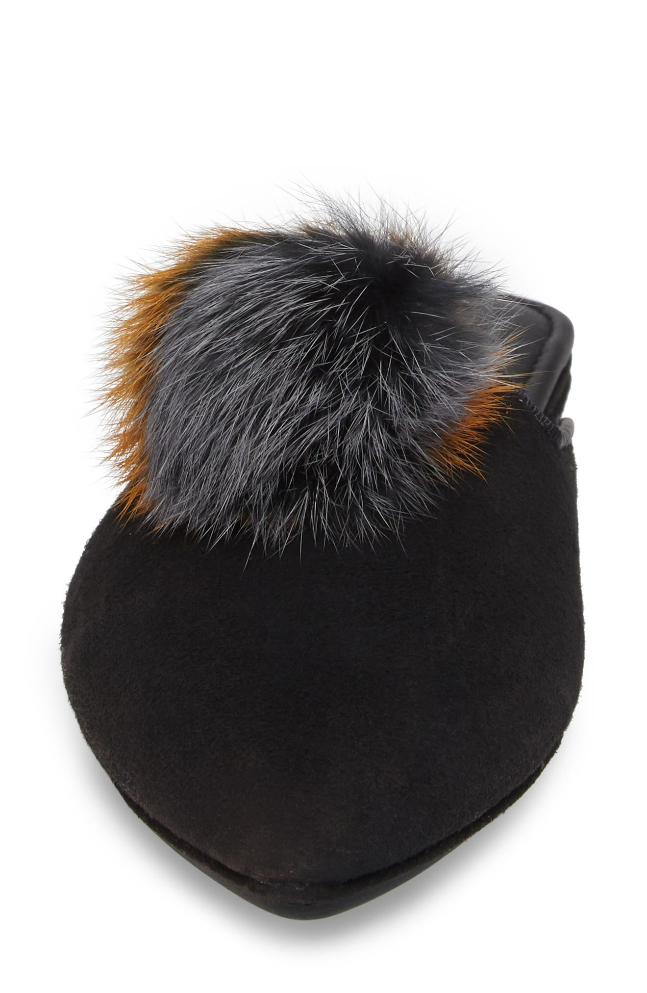 Vidi Genuine Rabbit Fur Loafer Mule,                             Alternate thumbnail 4, color,                             Black Rabbit Fur