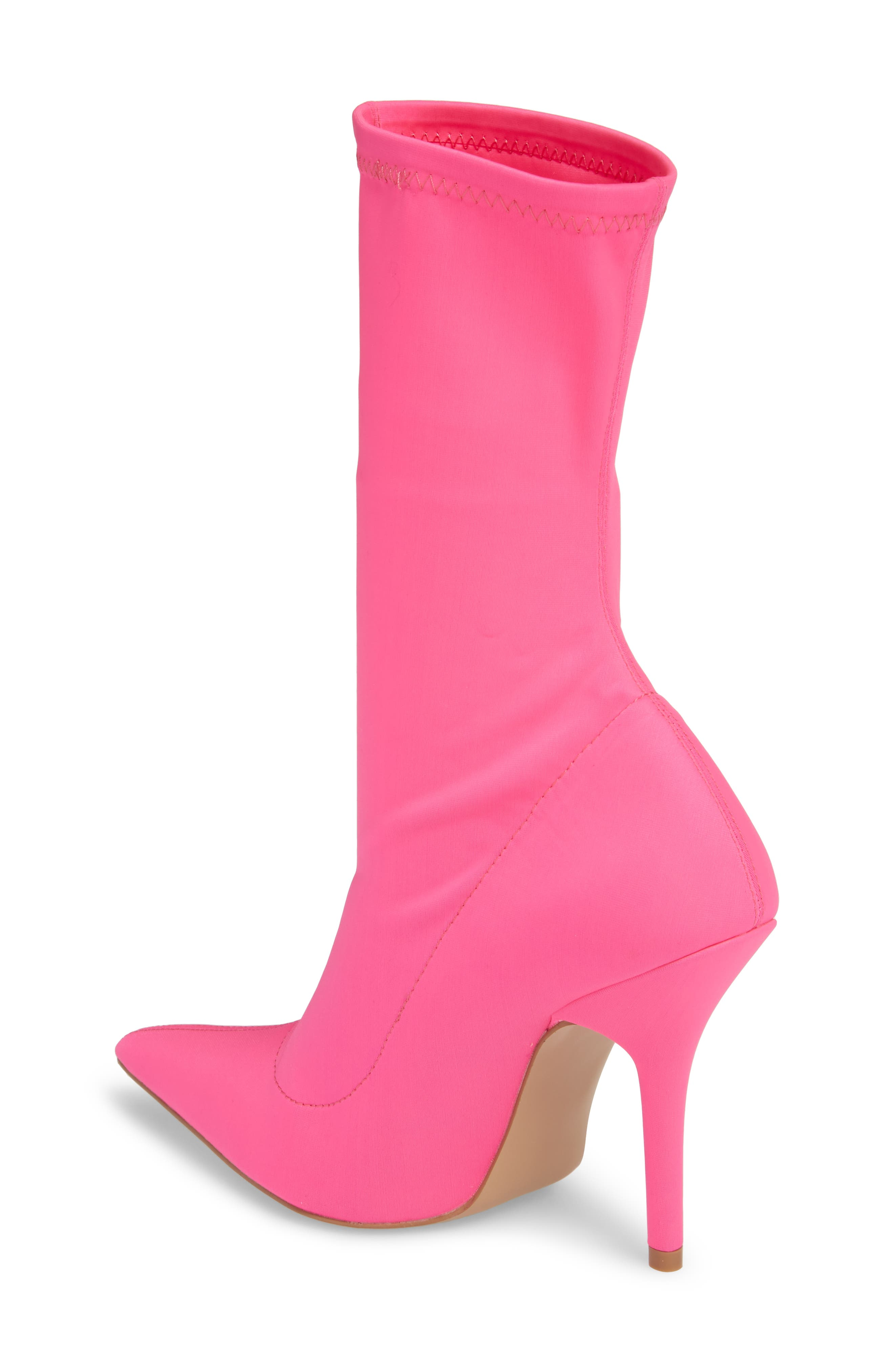 Mimi Stretch Bootie,                             Alternate thumbnail 2, color,                             Pink Faux Leather