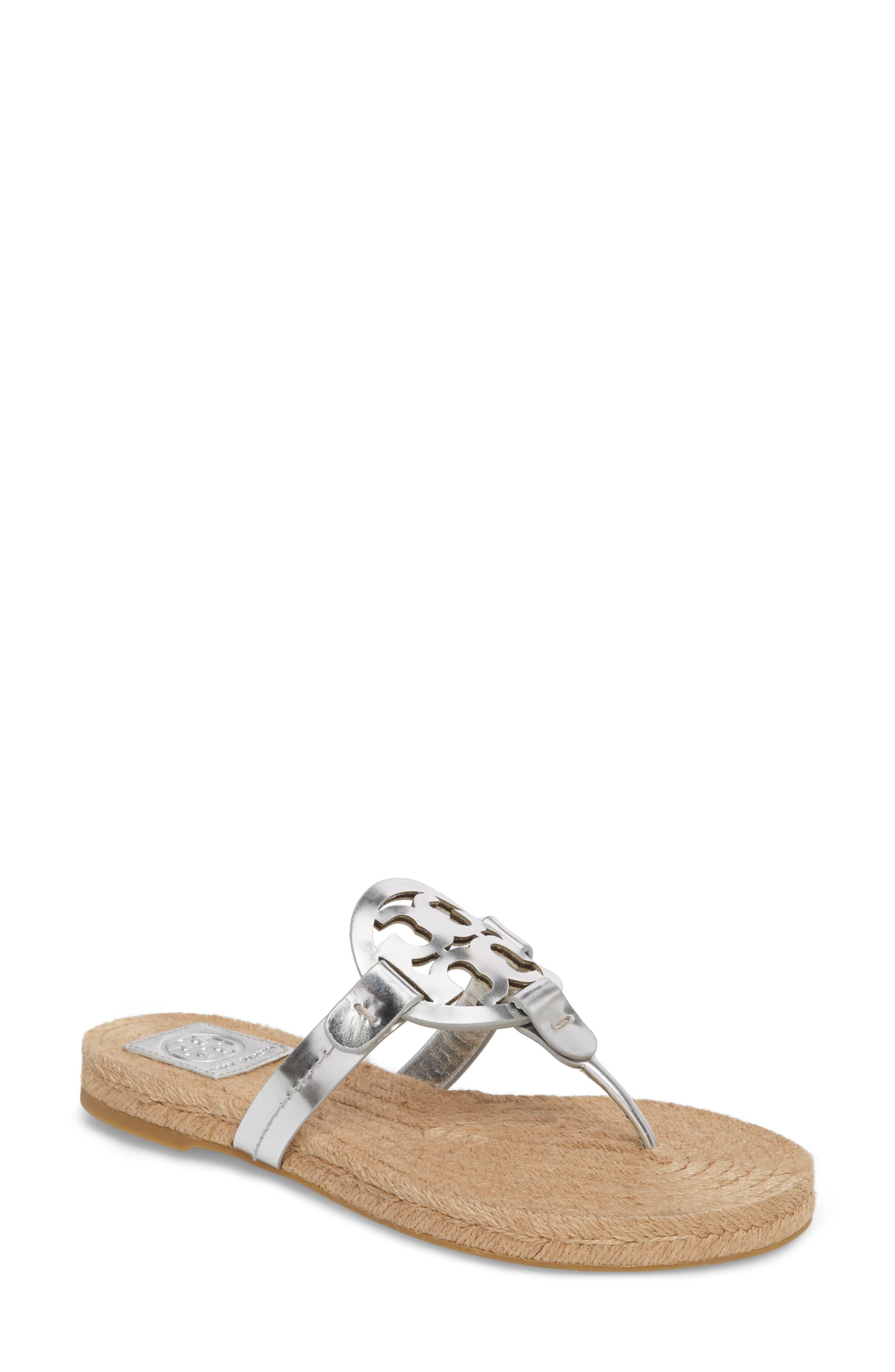 Miller Espadrille Sandal,                         Main,                         color, Silver/ Natural Vachetta