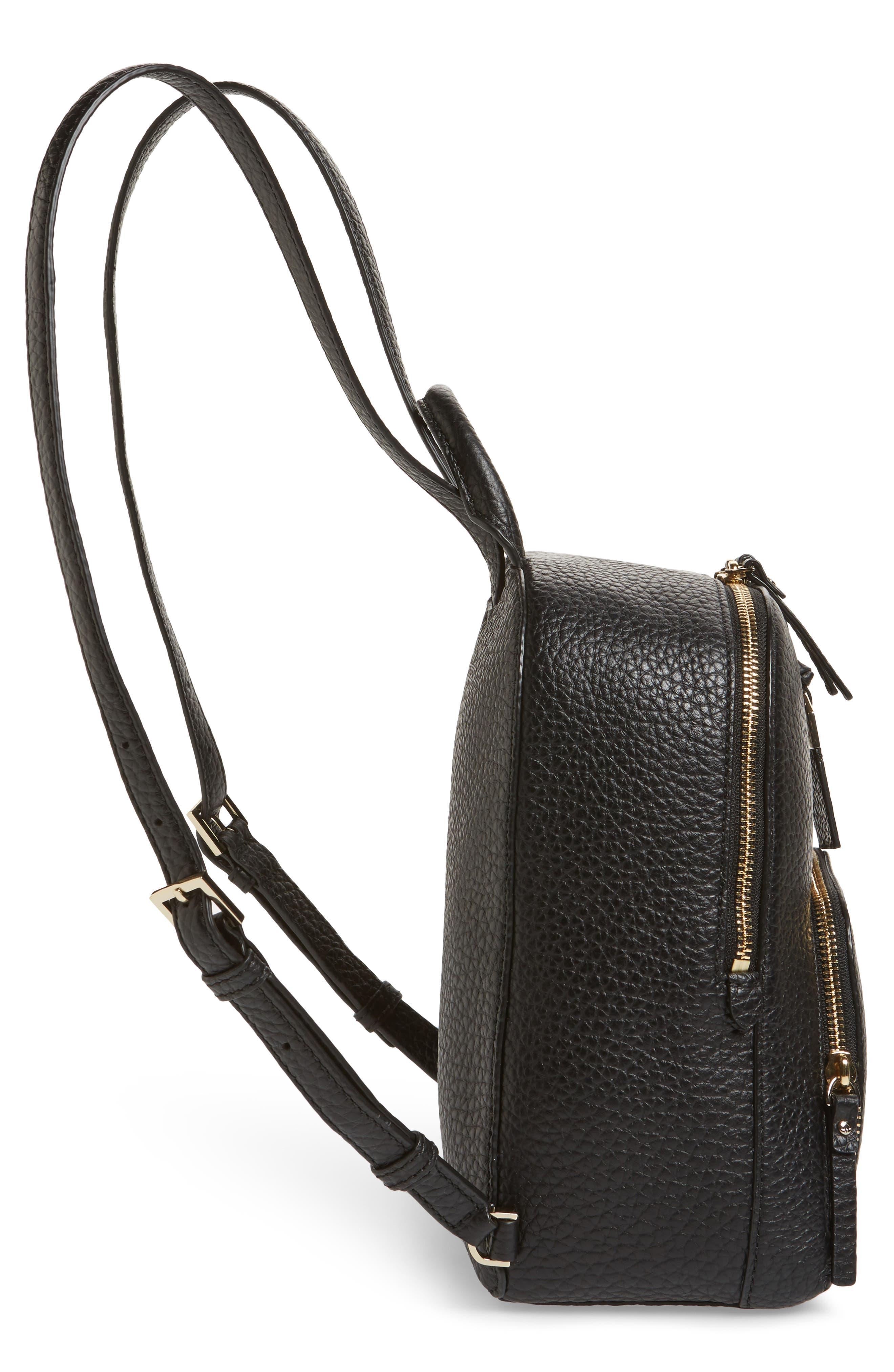 carter street - caden leather backpack,                             Alternate thumbnail 4, color,                             Black