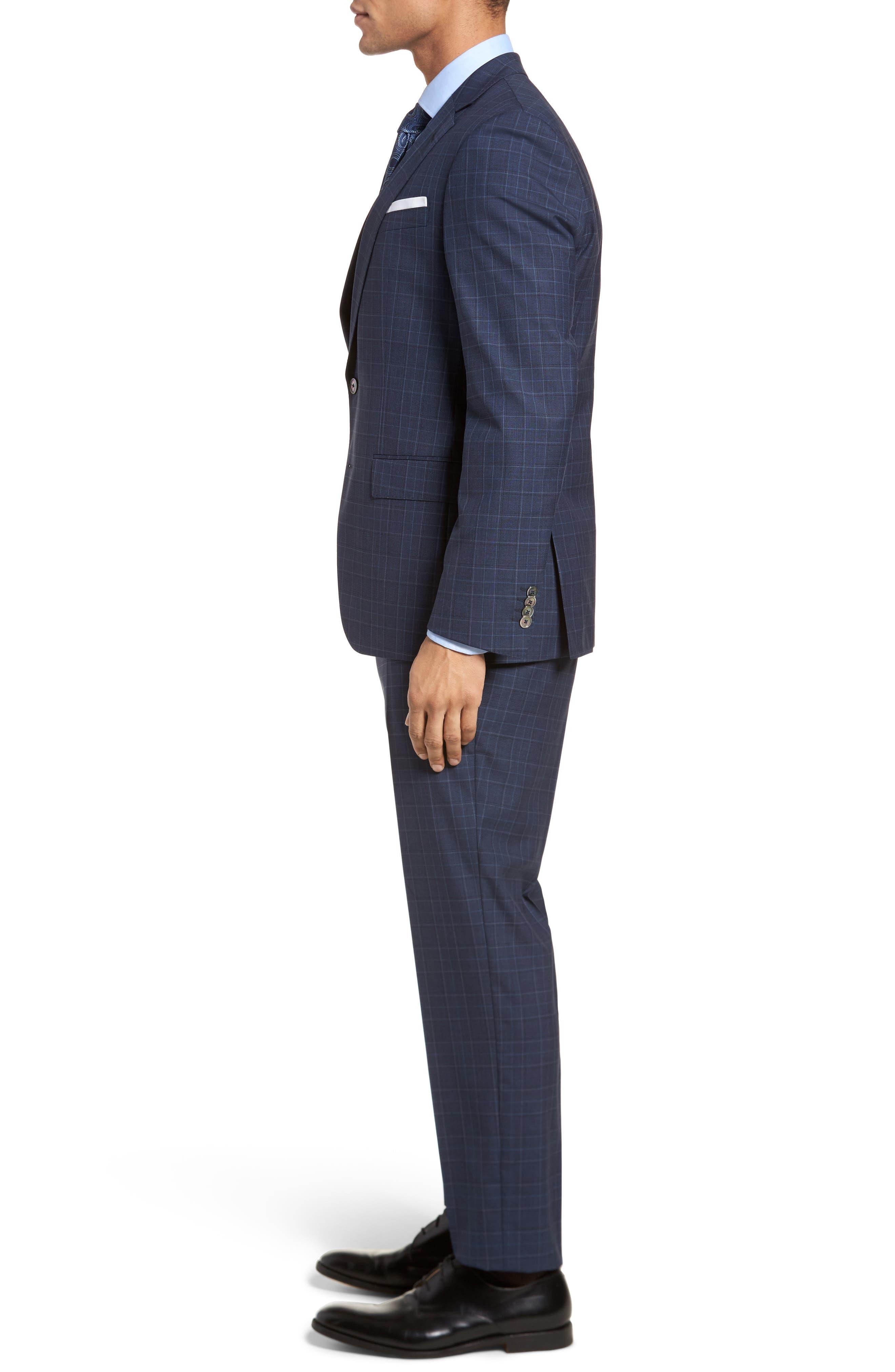 Hutson/Gander Trim Fit Plaid Wool Suit,                             Alternate thumbnail 3, color,                             Navy