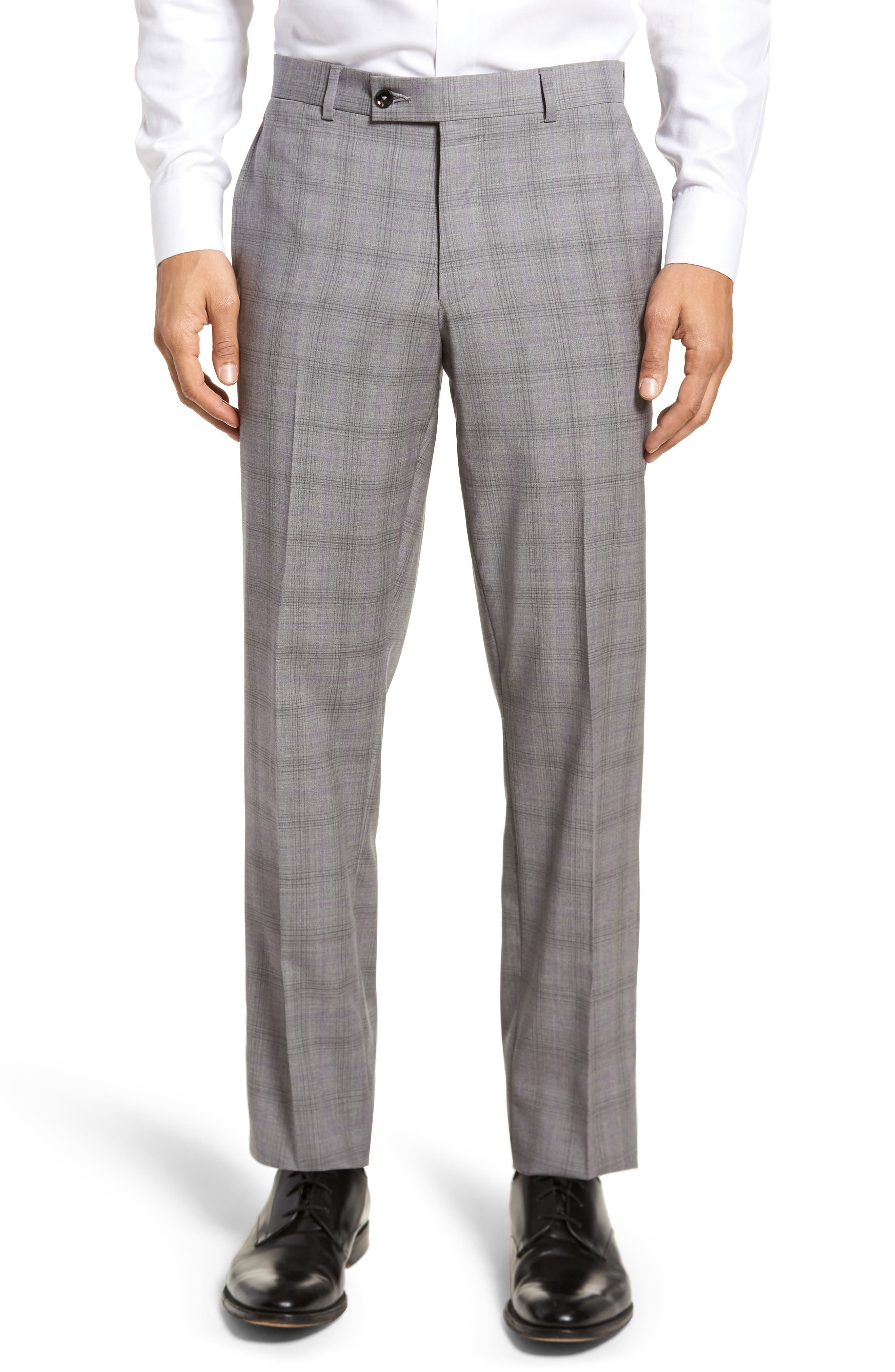 Jay Trim Fit Plaid Wool Suit,                             Alternate thumbnail 7, color,                             Light Grey