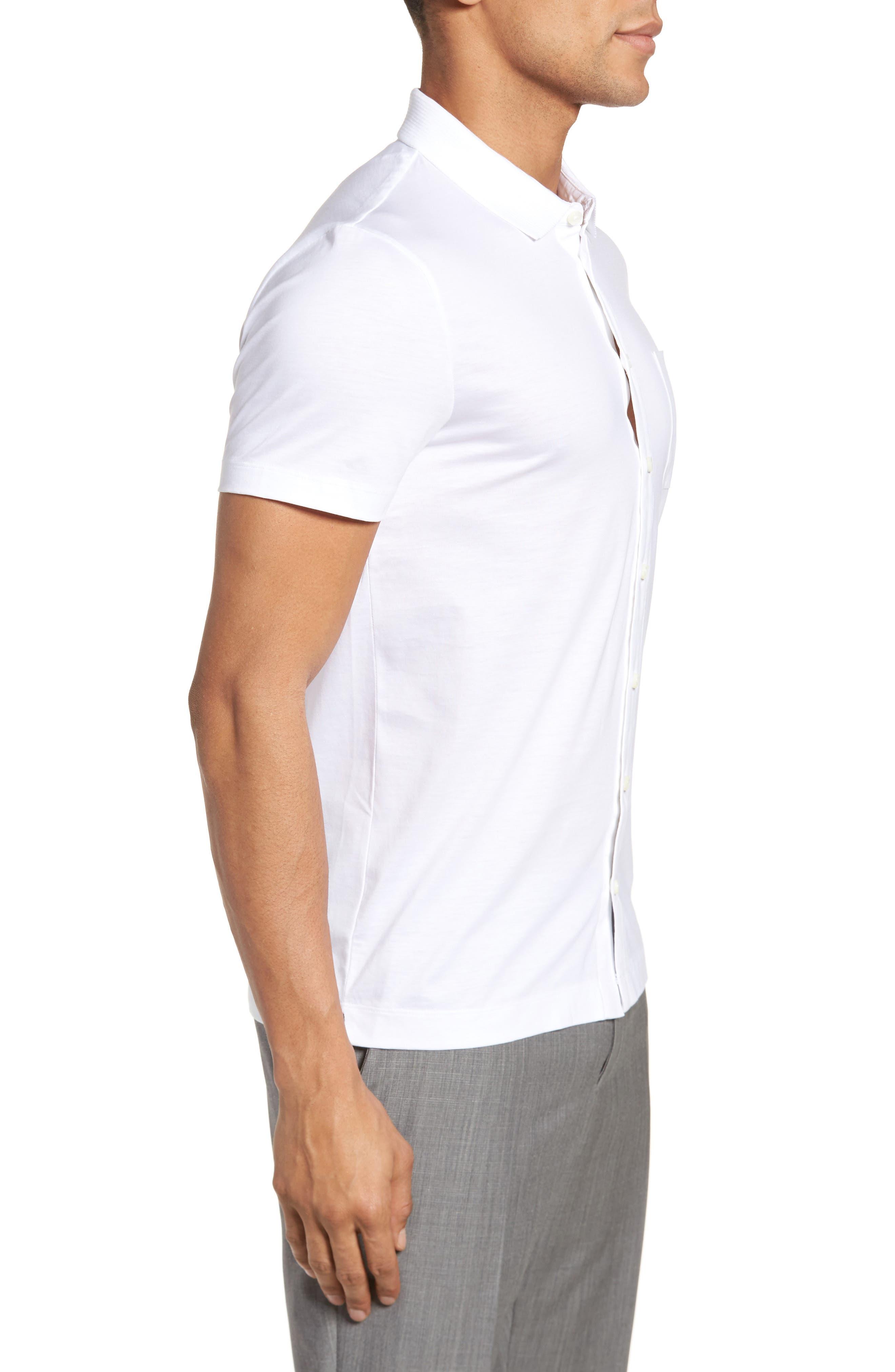Puno Slim Fit Short Sleeve Sport Shirt,                             Alternate thumbnail 4, color,                             White