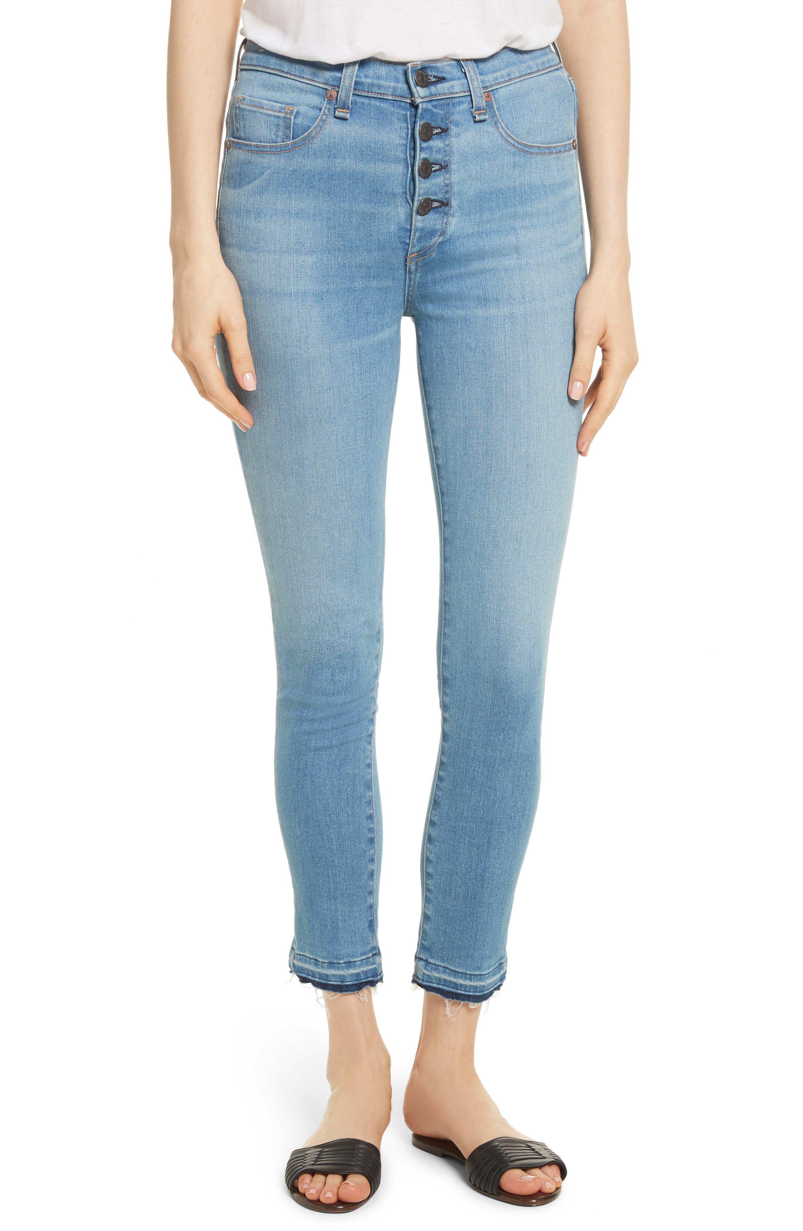 Debbie Frayed Crop Skinny Jeans,                             Main thumbnail 1, color,                             Ocean Blue