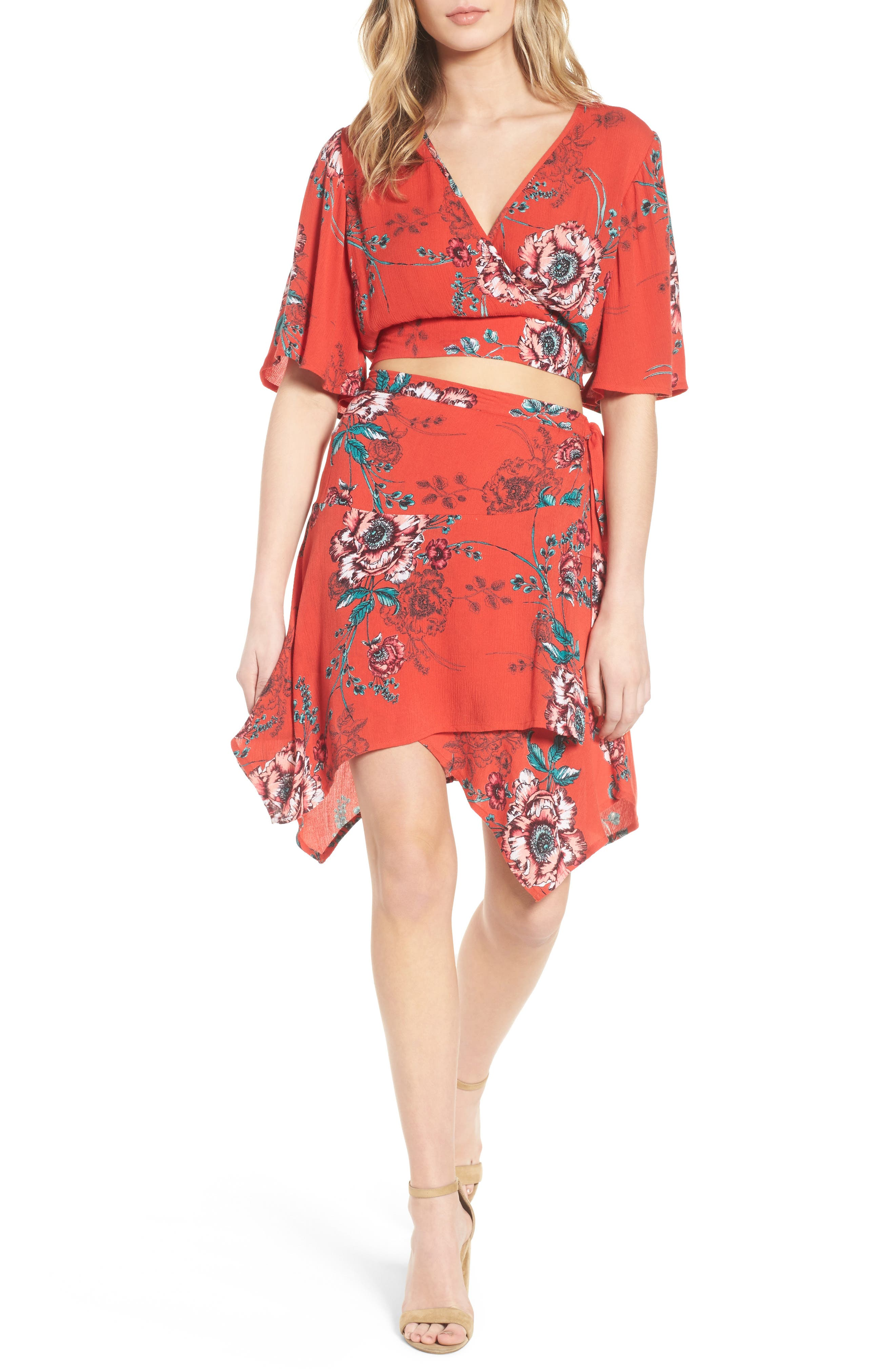 Shadow Floral Tie Back Crop Top,                             Alternate thumbnail 2, color,                             Red/ Peach