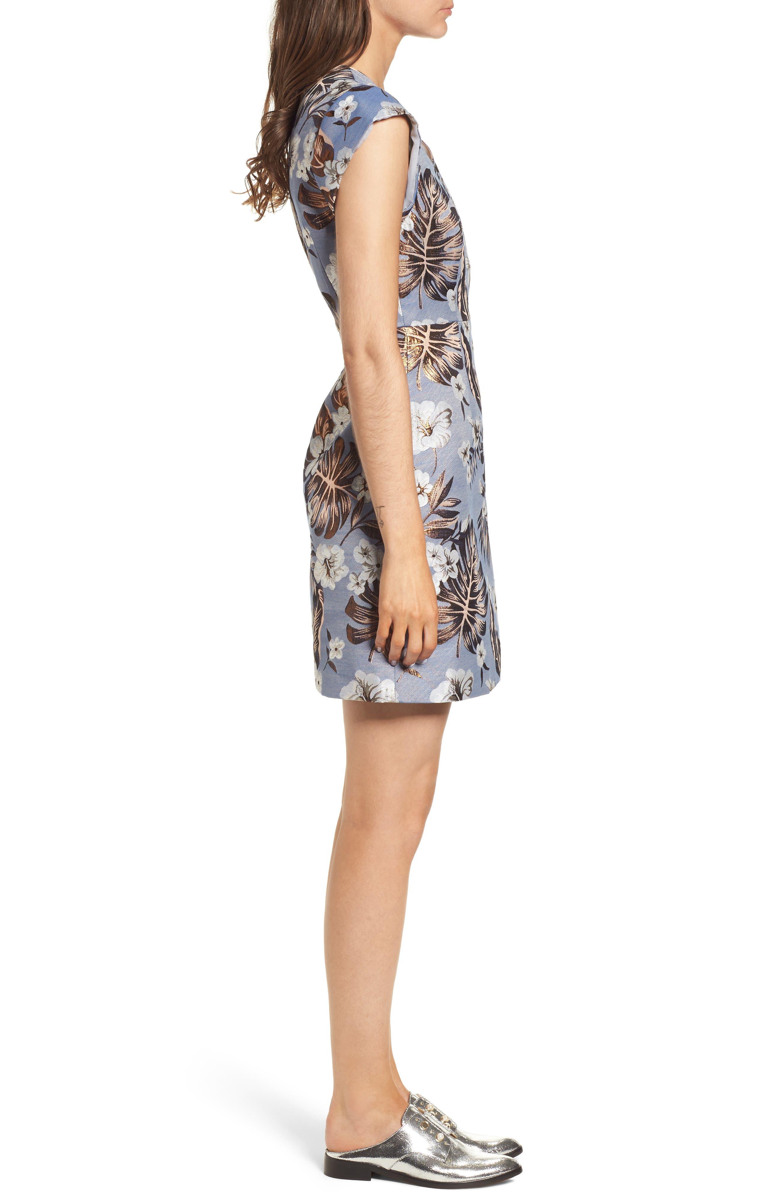 Solaire Sheath Dress,                             Alternate thumbnail 3, color,                             Denim