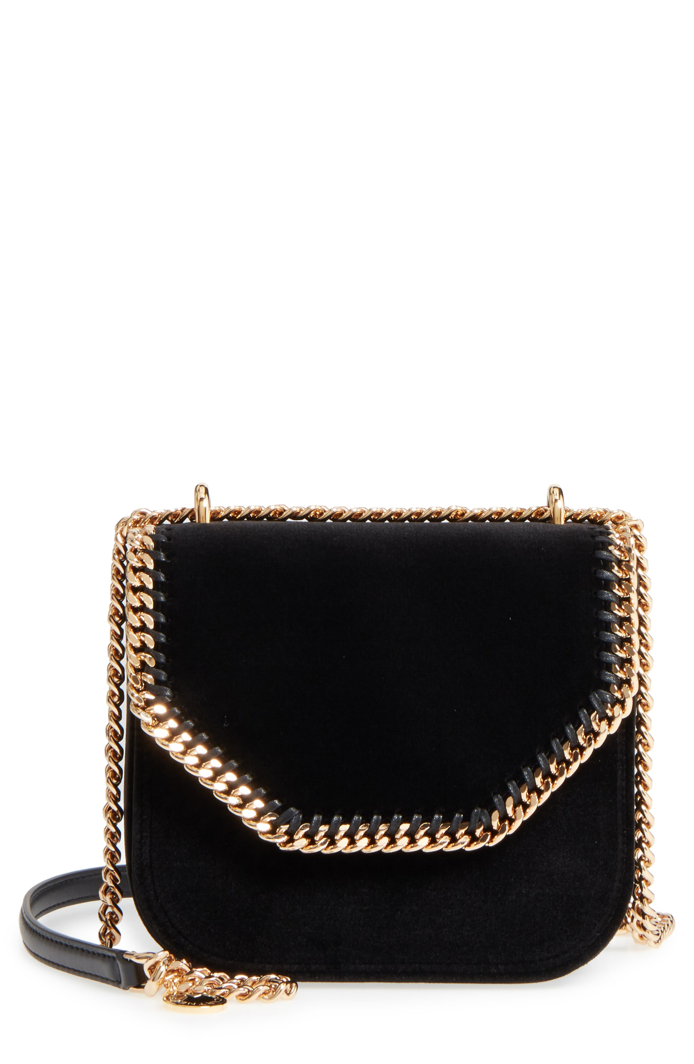 Main Image - Stella McCartney Mini Falabella Box Velvet Shoulder Bag