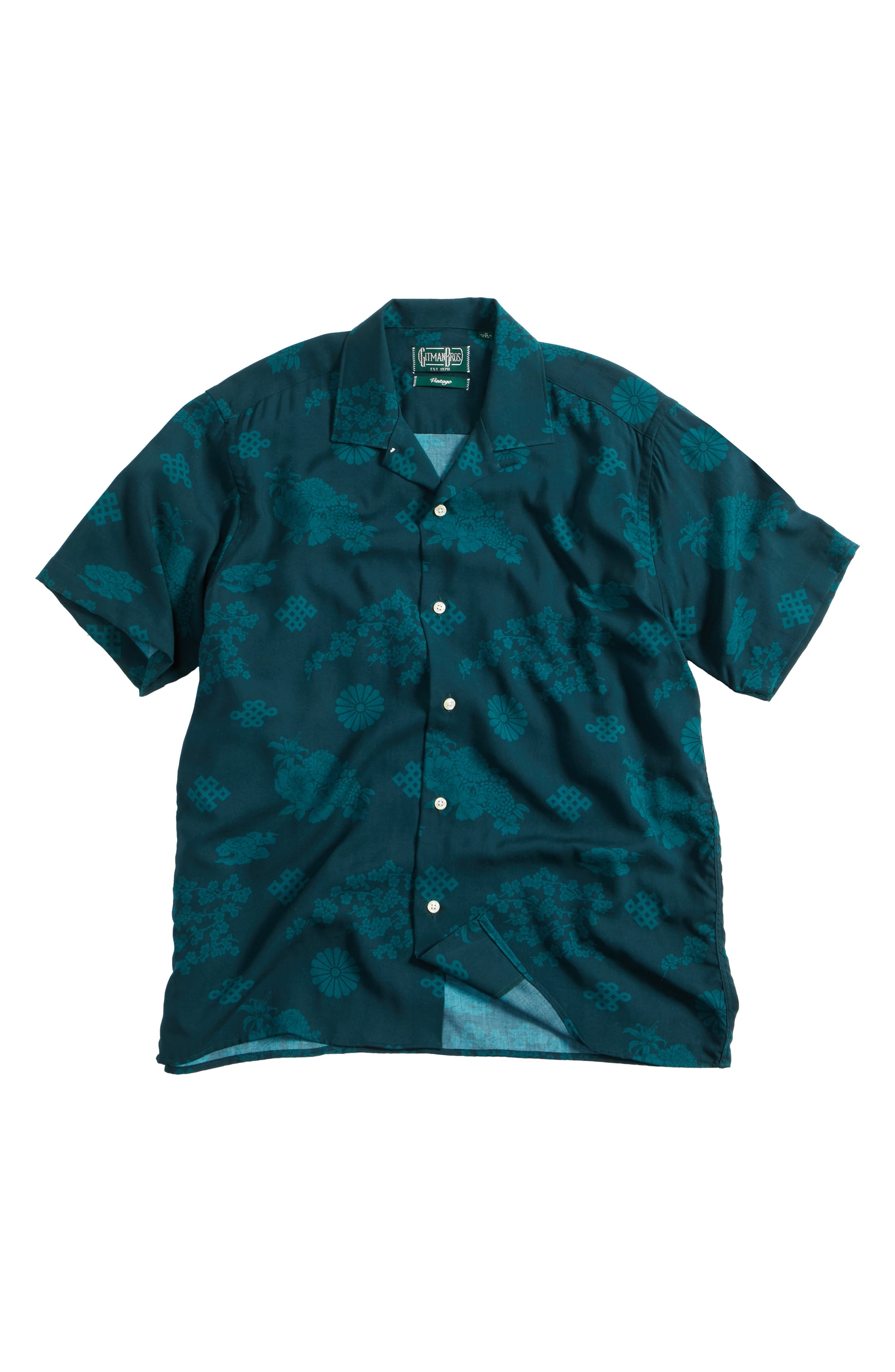 x The North Face Men's Floral Print Camp Shirt,                         Main,                         color, Green Ground