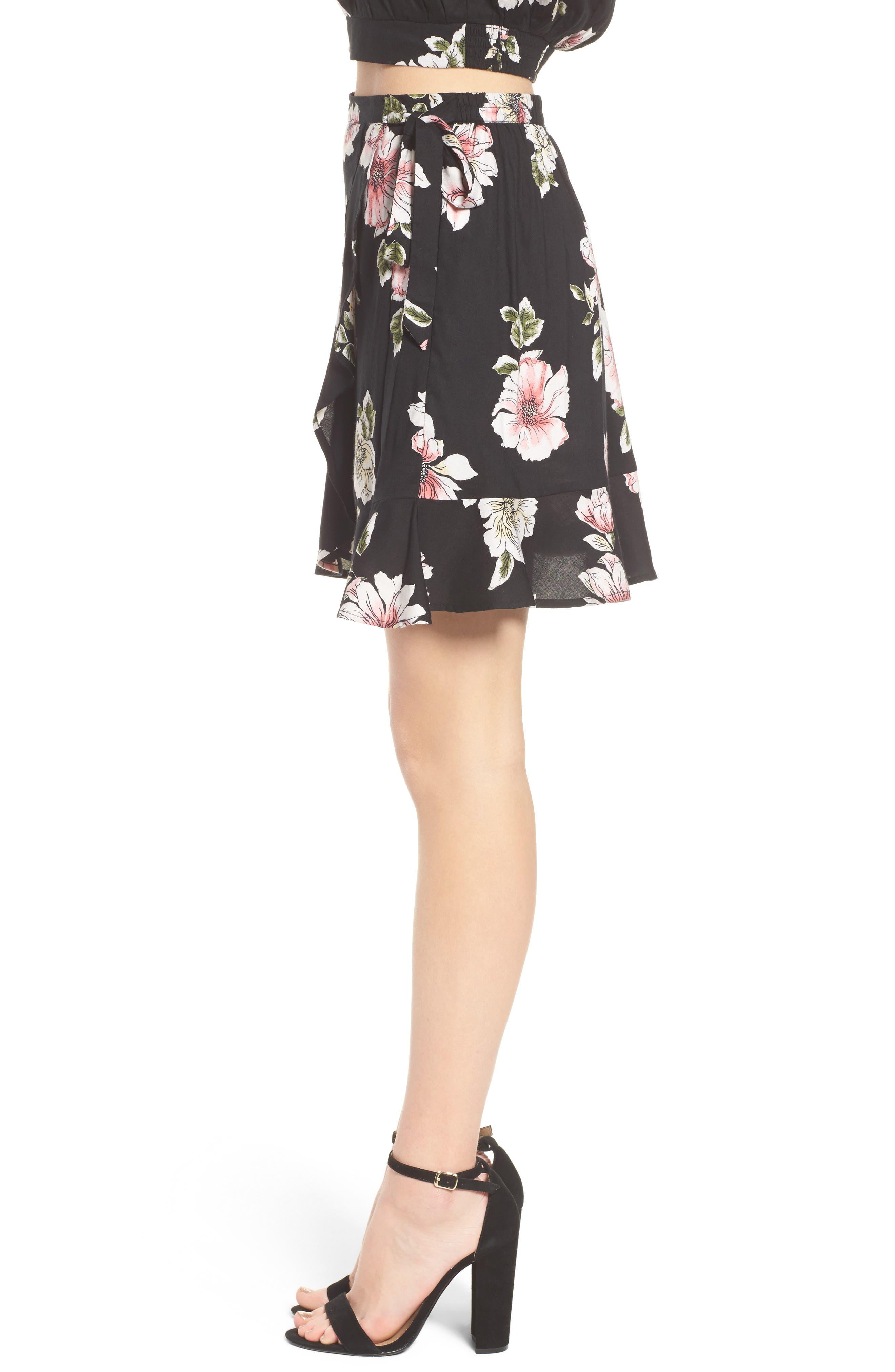 Hibiscus Faux Wrap Mini Skirt,                             Alternate thumbnail 4, color,                             Black/ Dusty Coral