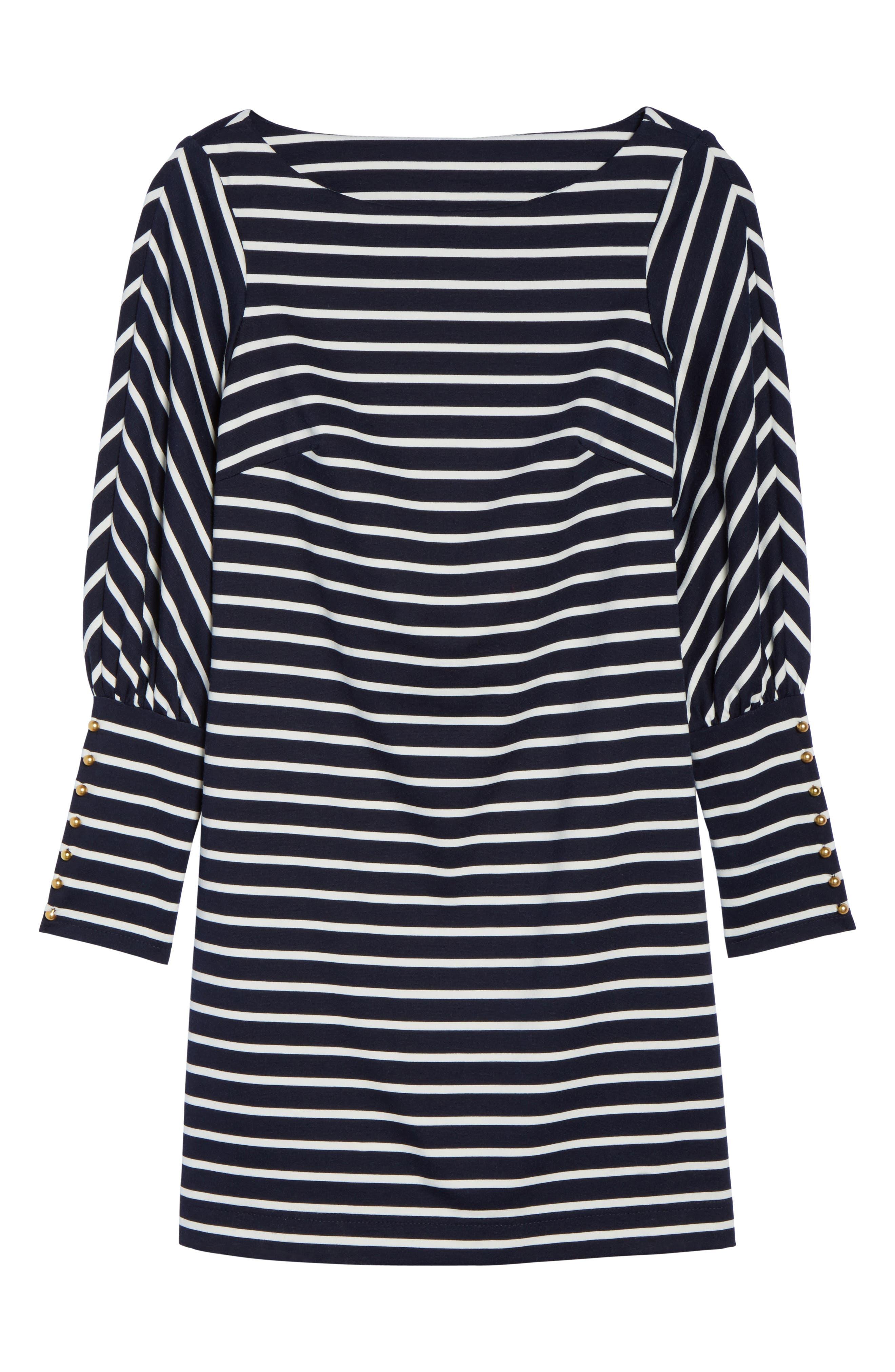 Puff Sleeve Shift Dress,                             Alternate thumbnail 6, color,                             Navy/ Ivory