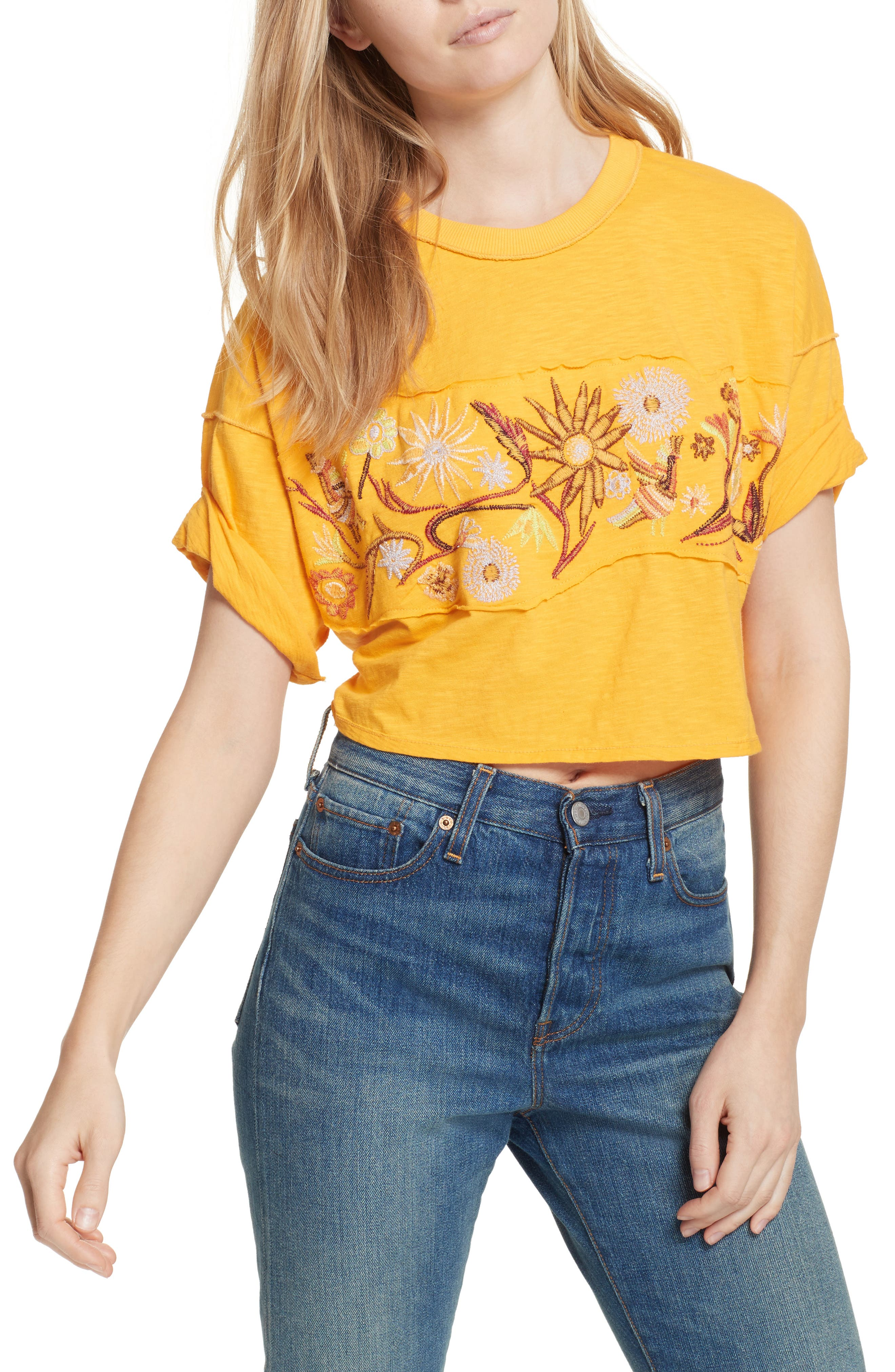 Garden Time Embroidered Tee,                             Main thumbnail 1, color,                             Yellow