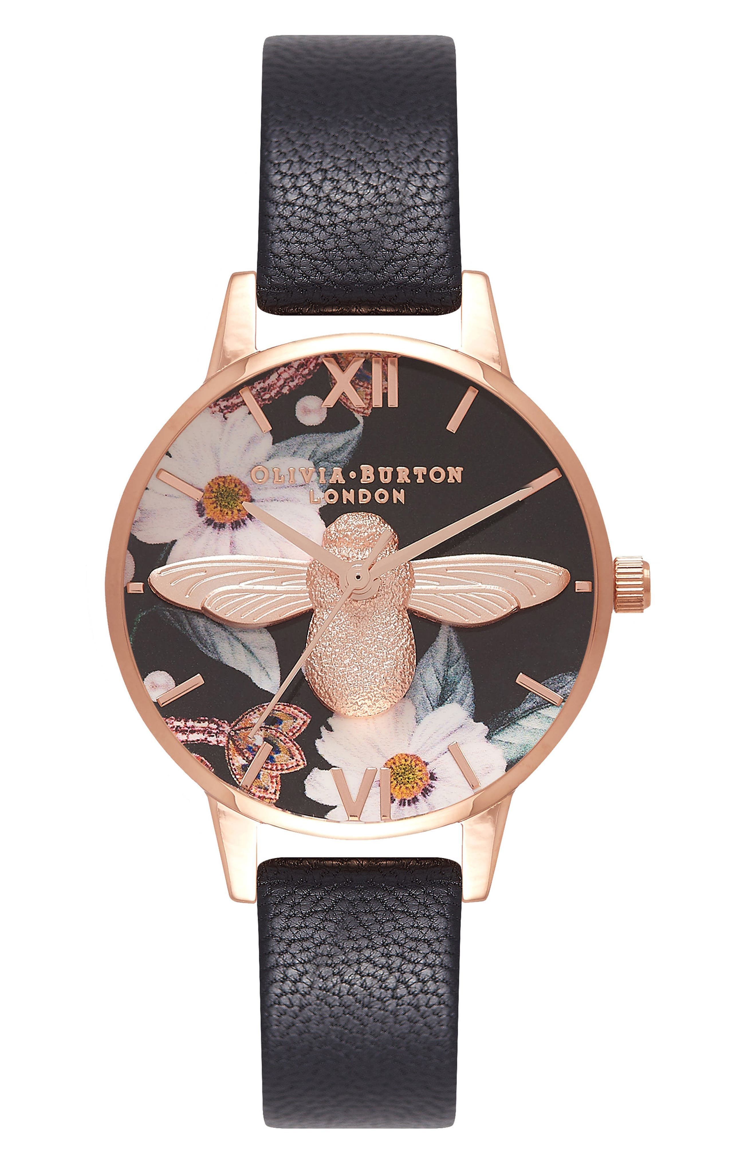 Bejewelled Florals Leather Strap Watch, 30mm,                         Main,                         color, Black/ Floral Bee/ Rose Gold