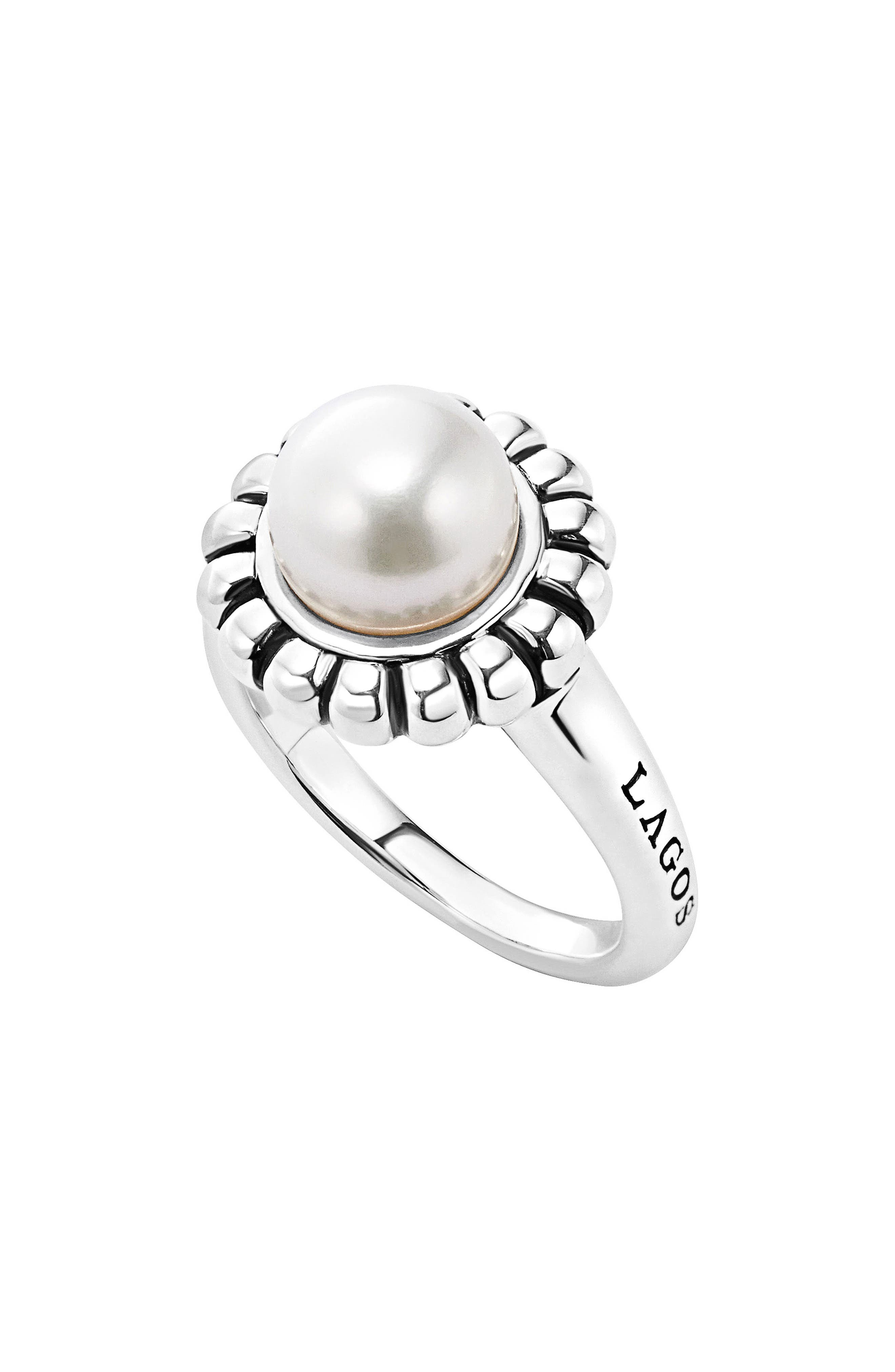 'Luna Pearl' Fluted Ring,                             Main thumbnail 1, color,                             Silver/ Pearl