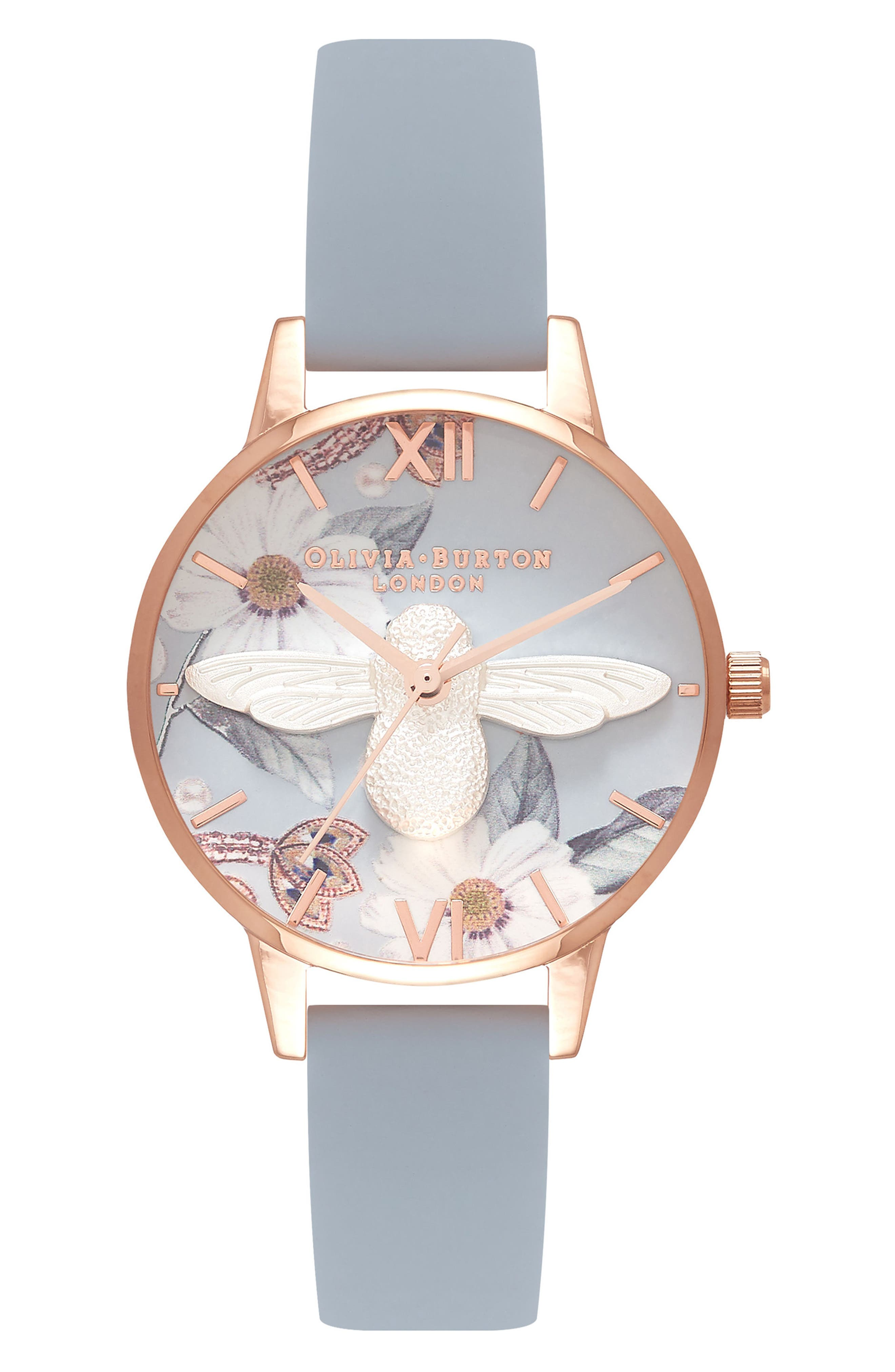 Bejewelled Florals Leather Strap Watch, 30mm,                             Main thumbnail 1, color,                             Blue/ Floral/ Rose Gold