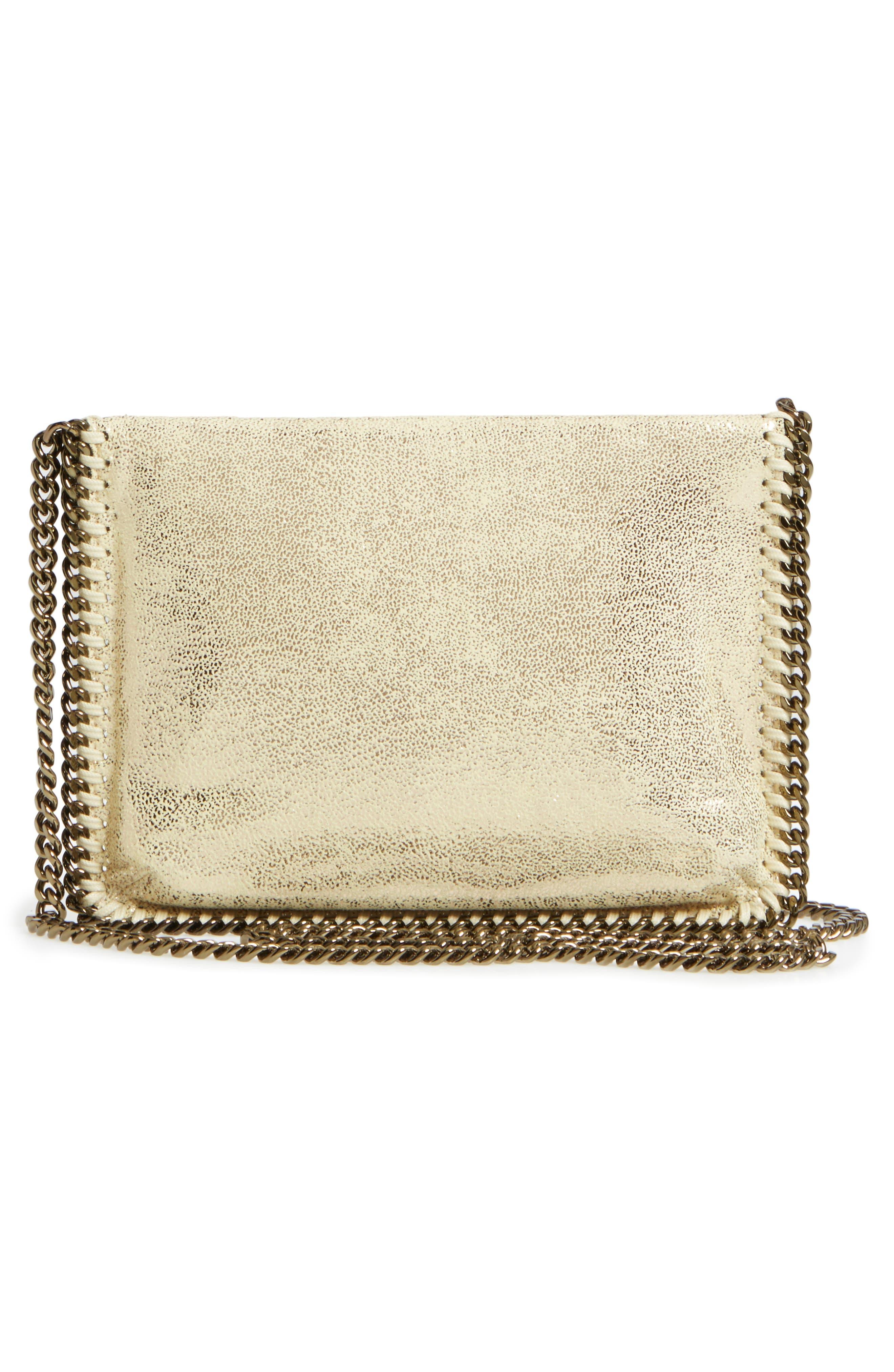 Metallic Faux Leather Crossbody Bag,                             Alternate thumbnail 3, color,                             Lemon