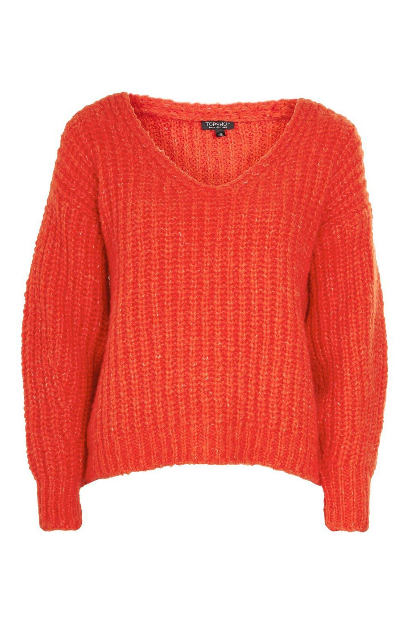 Oversized V-Neck Sweater,                             Alternate thumbnail 4, color,                             Red