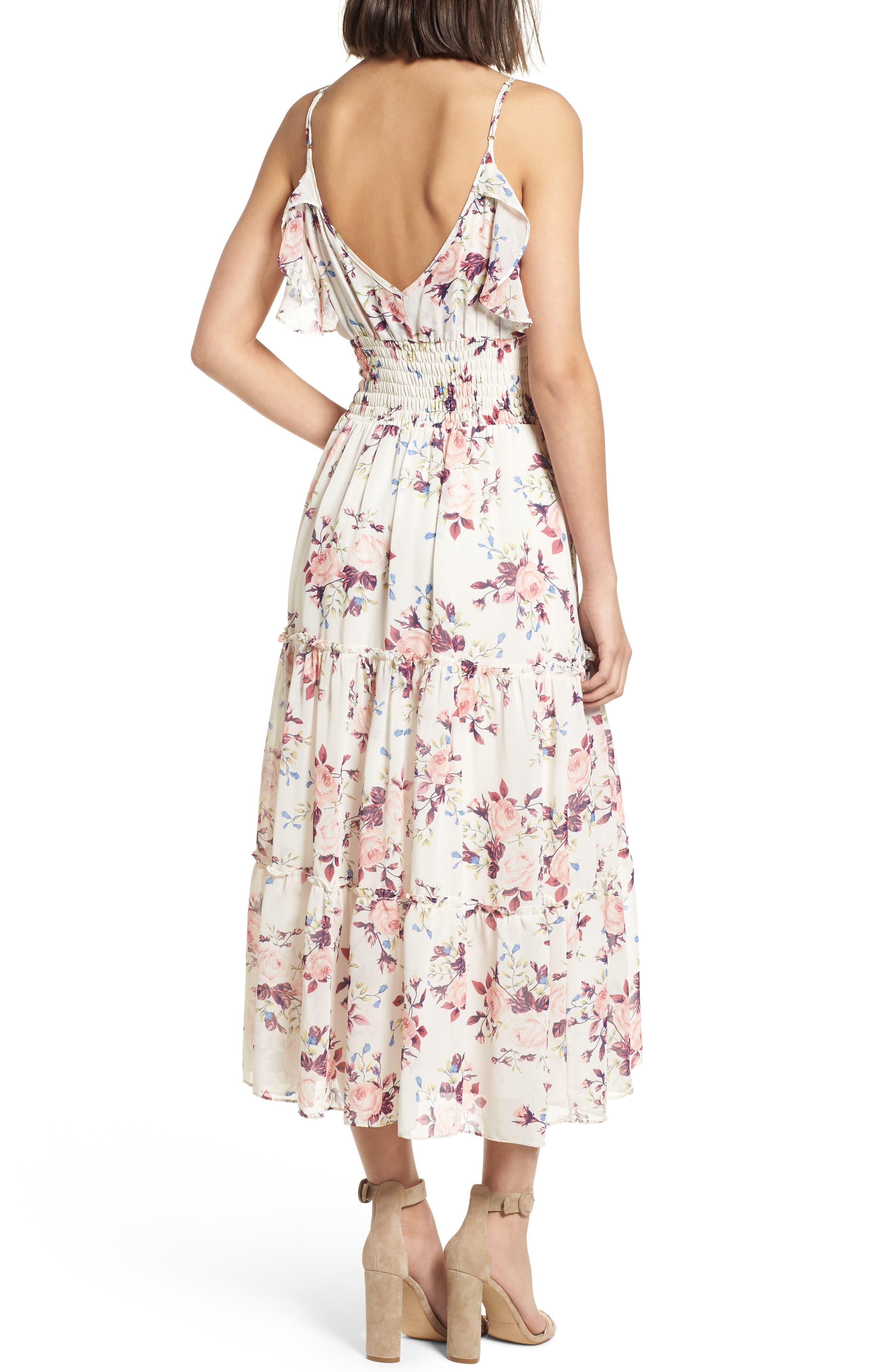 Aviana Midi Dress,                             Alternate thumbnail 2, color,                             White/ Multi Em10